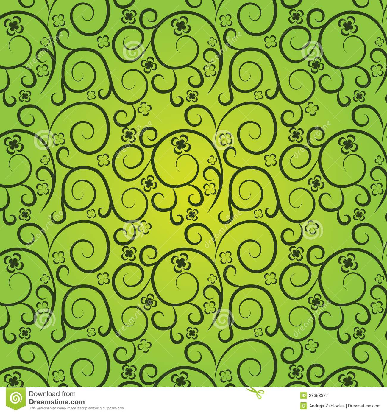 ... Free Stock Photography: Vintage floral pattern on a green background