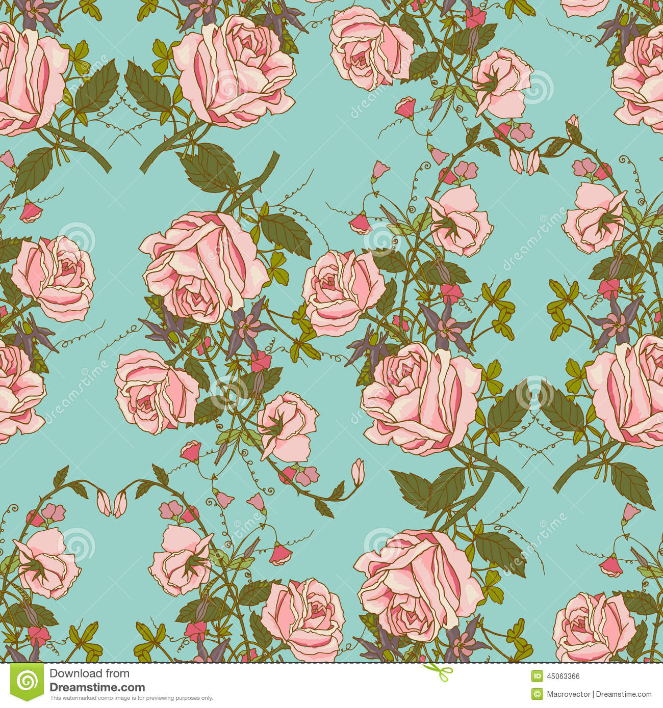 Vintage Floral Seamless Color Pattern Stock Vector Illustration Of