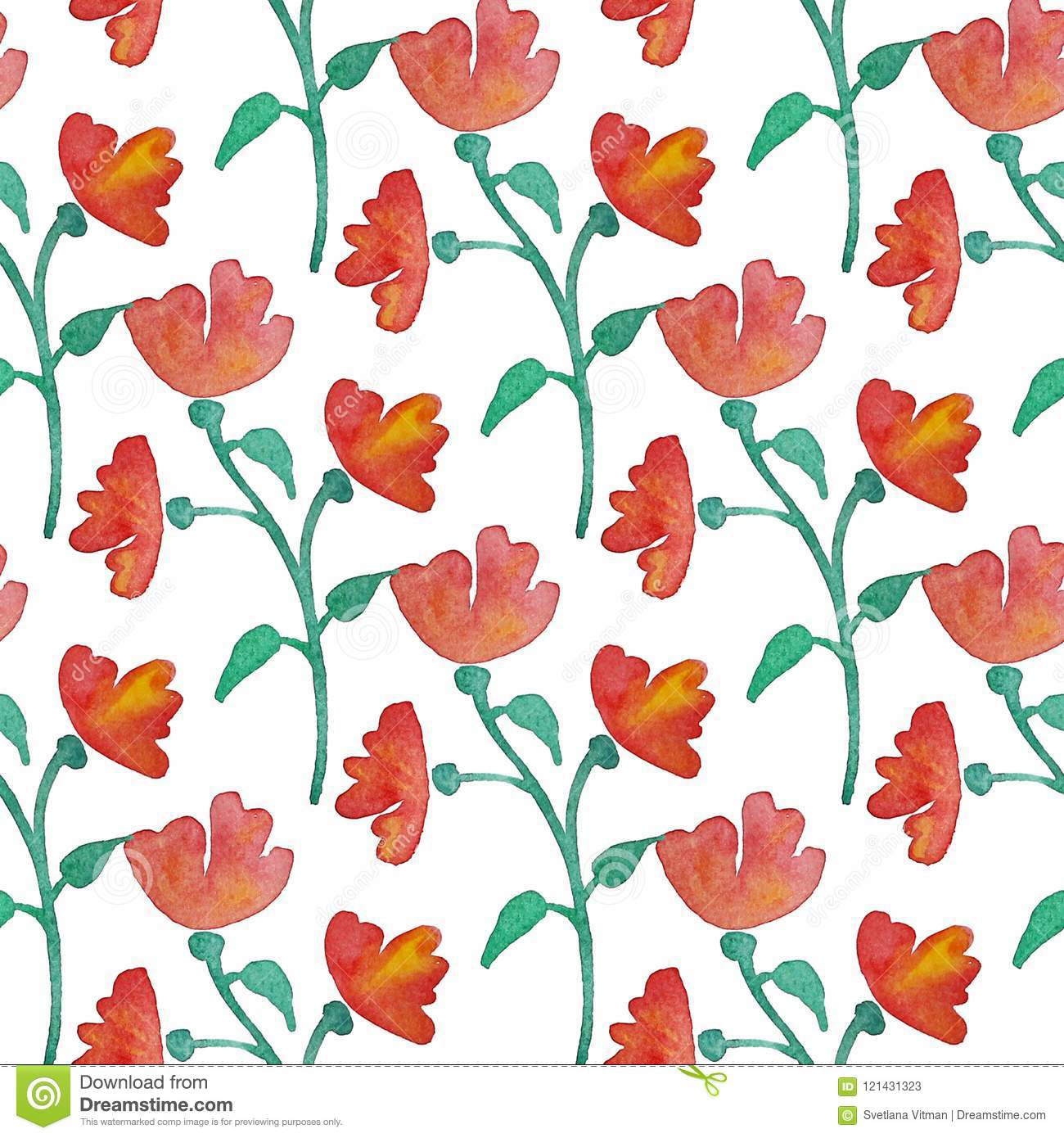Vintage Floral Seamless Pattern With Red Flowers And Leaf Print