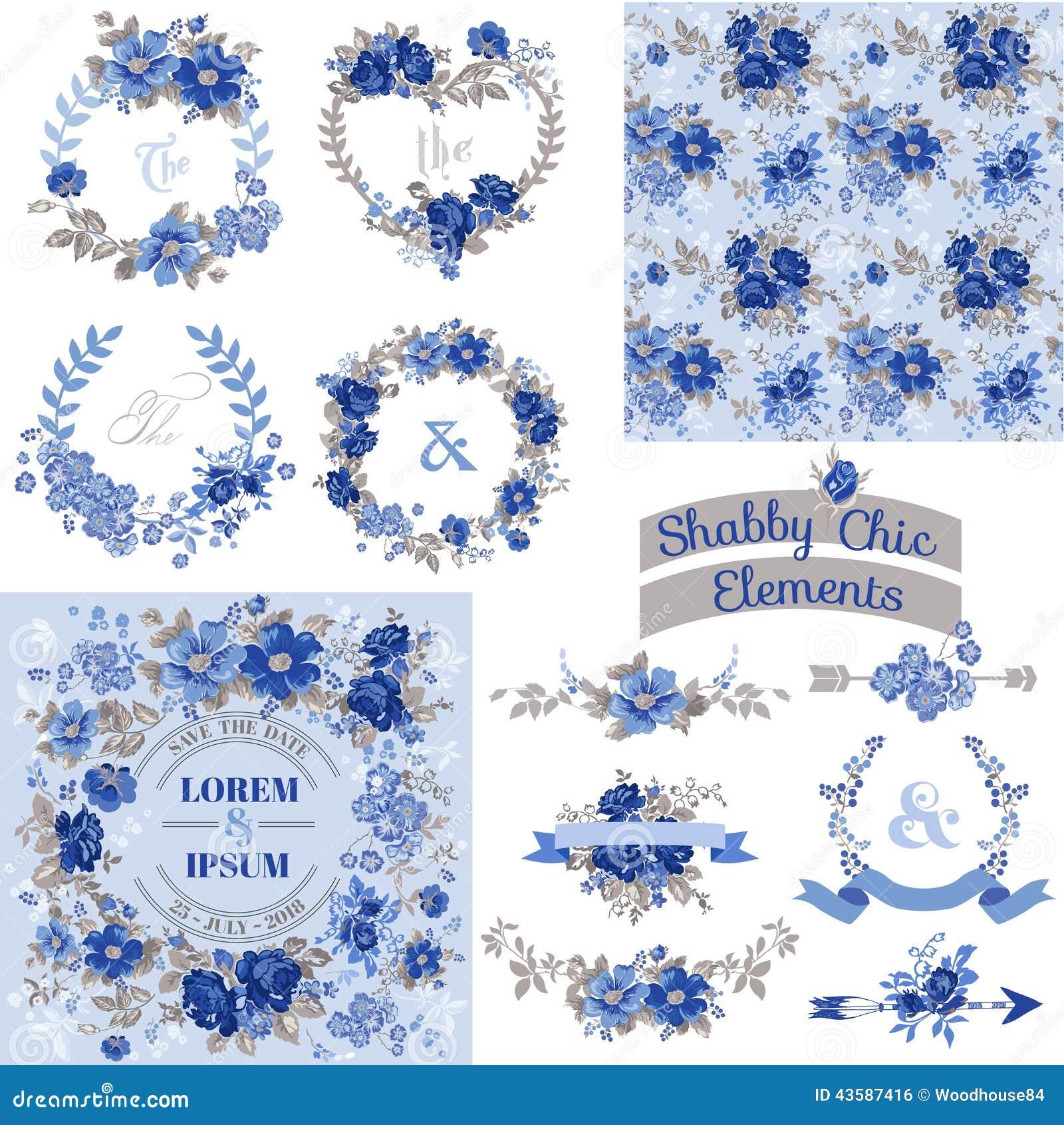 Vintage Floral Set - Frames, Ribbons, Backgrounds