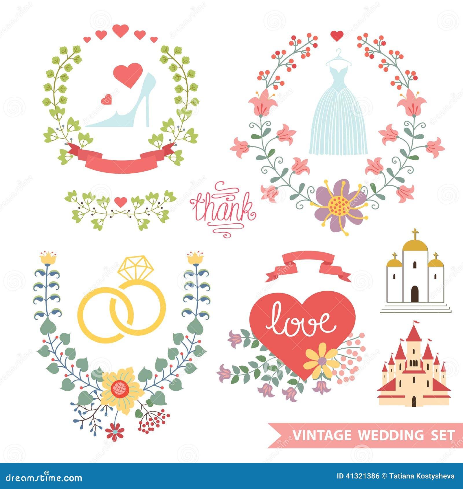 Vintage Floral Set With Wedding Items Stock Illustration