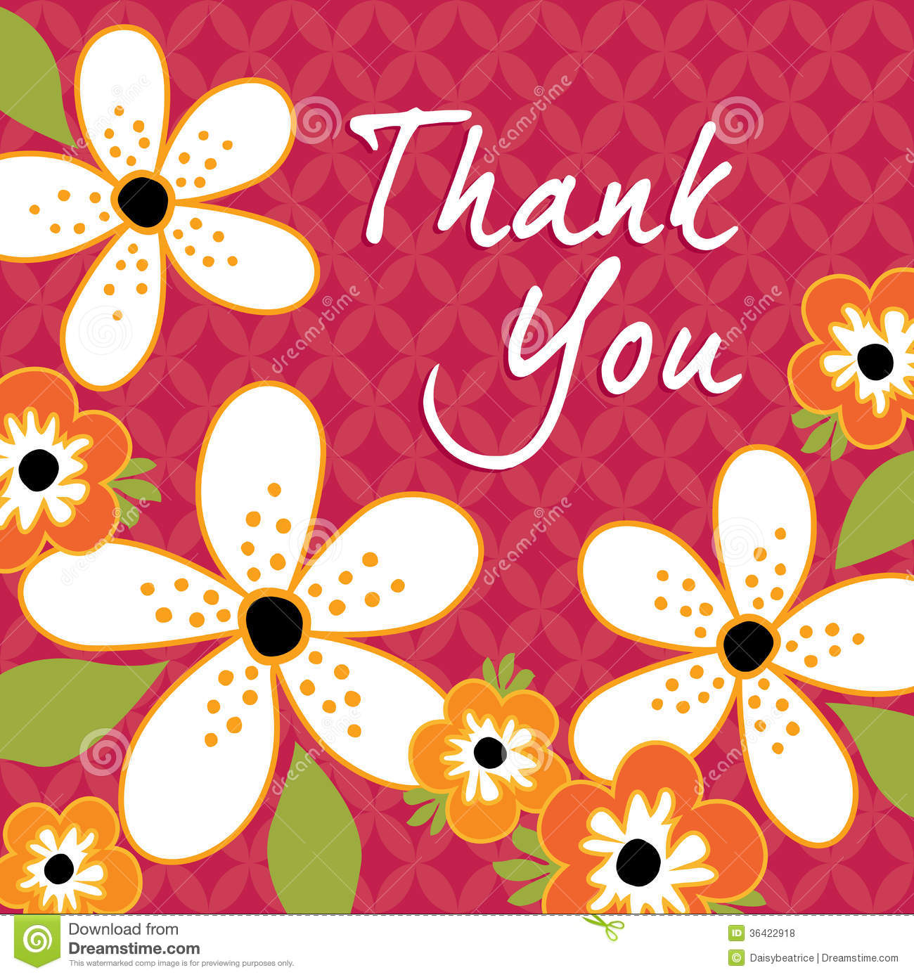 vintage floral thank you card template stock vector illustration