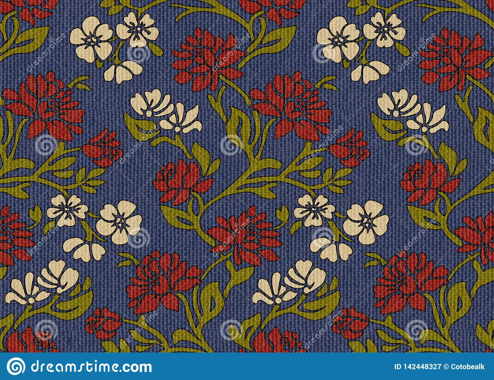 Vintage Floral Upholstery Fabric Seamless Pattern Stock Vector