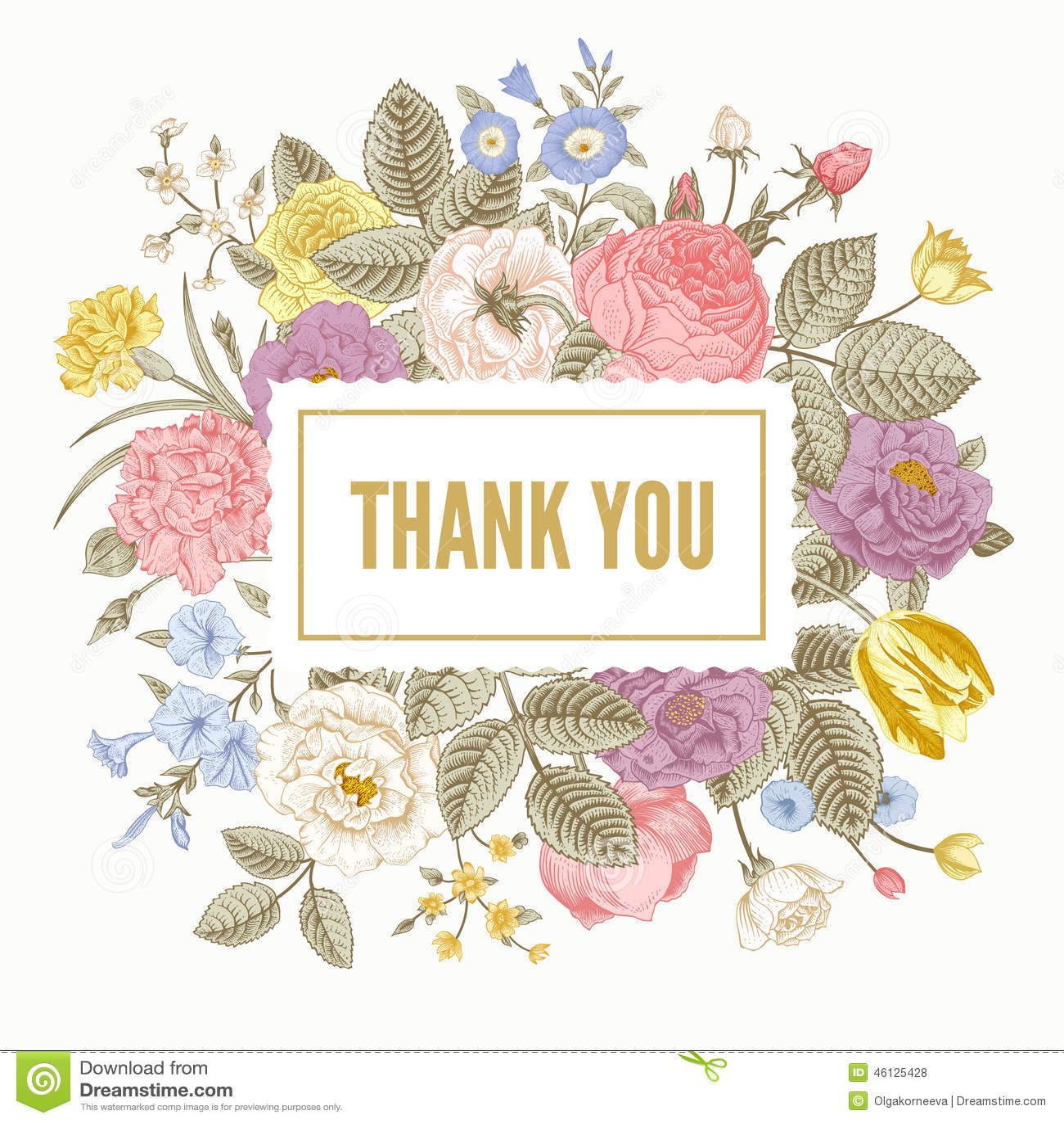 vintage floral vector card stock vector  illustration of