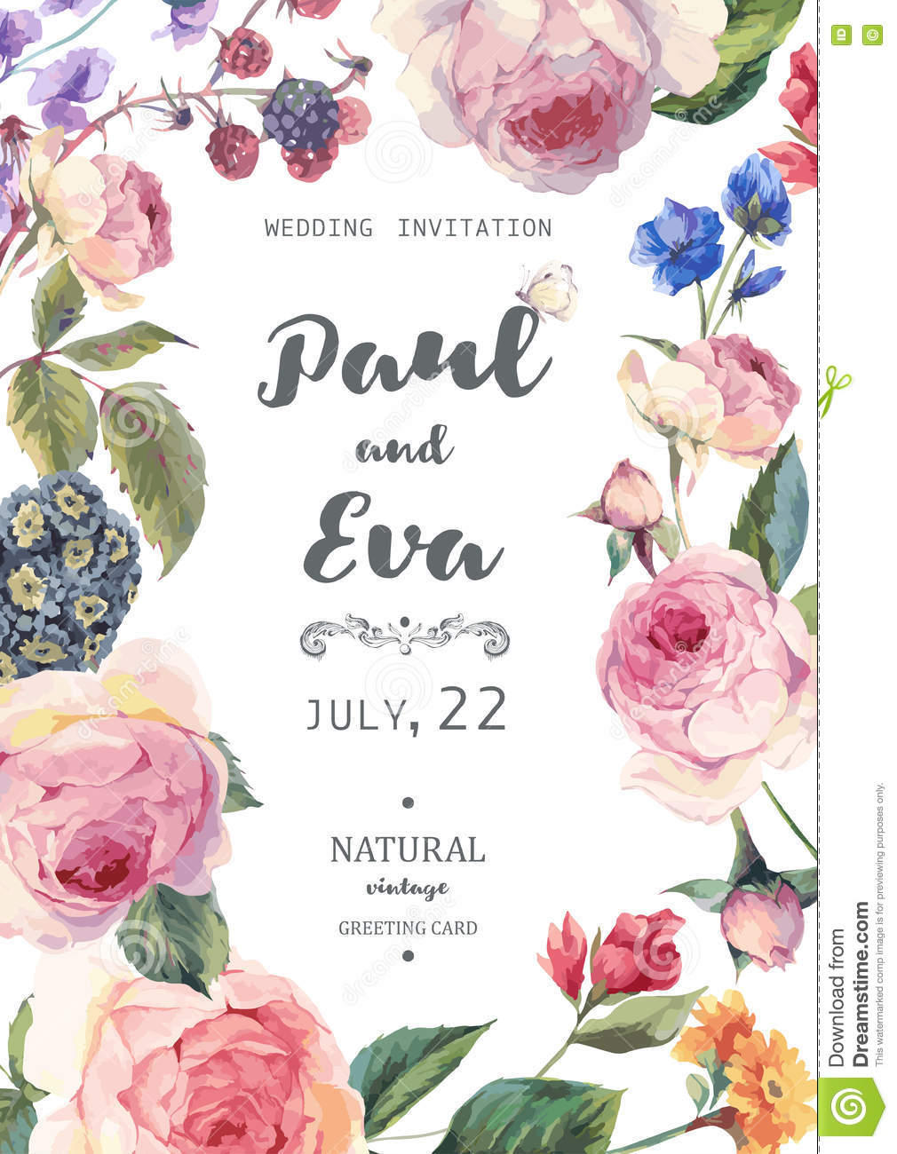 vintage floral vector roses wedding invitation stock vector