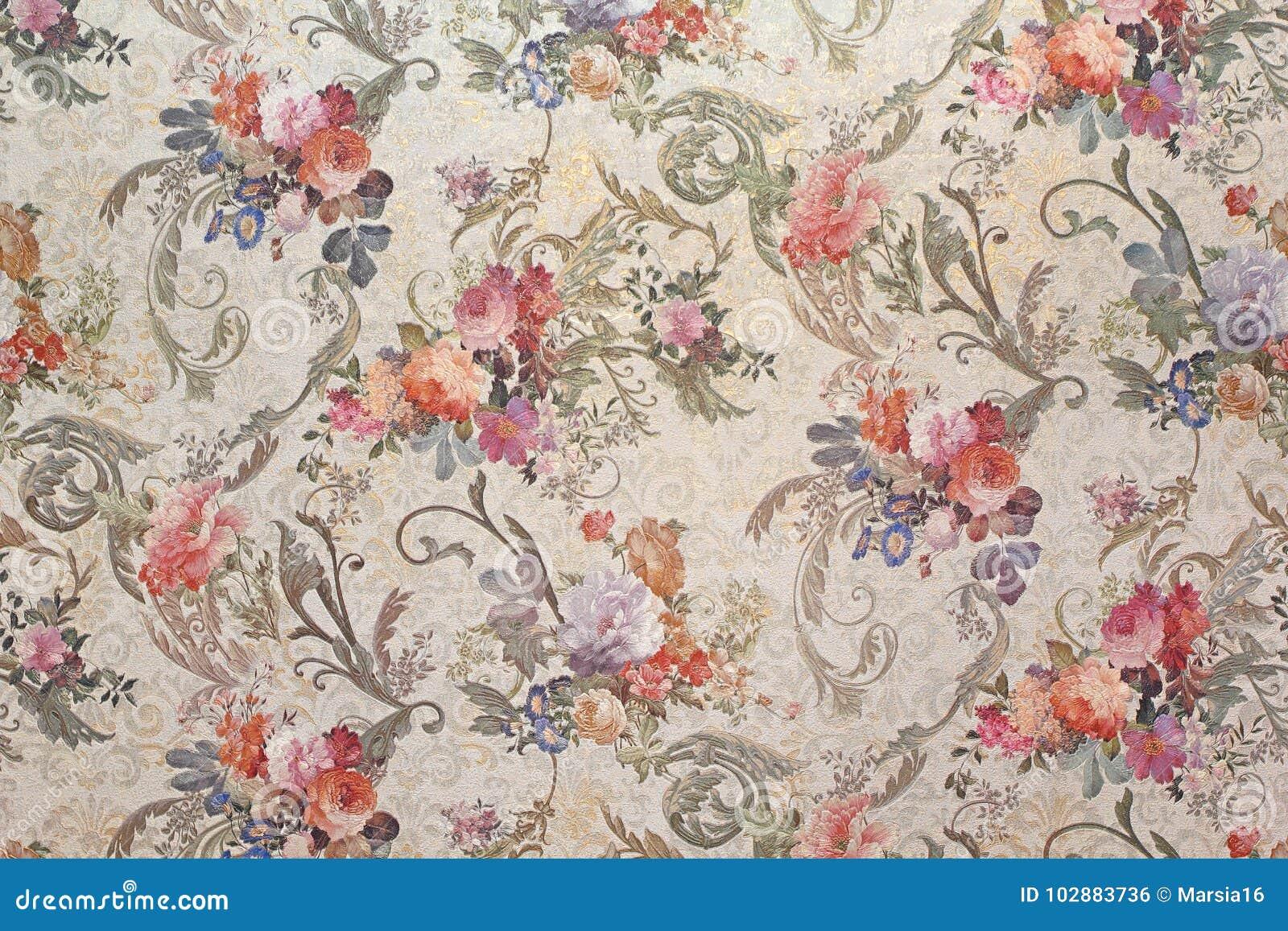 vintage floral wallpaper stock photo