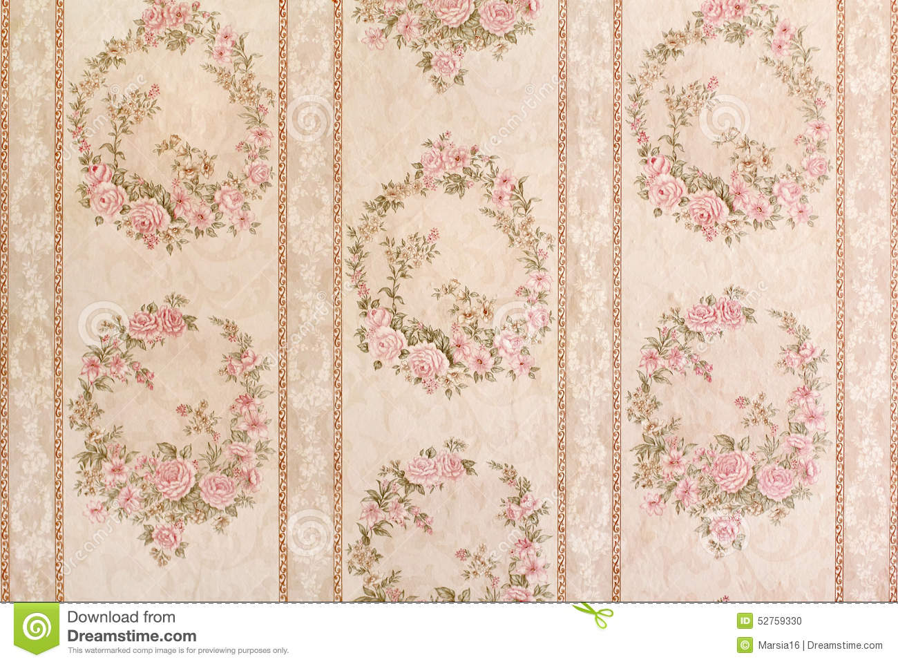 Vintage Floral Wallpaper Stock Photo Image Of Nature 52759330