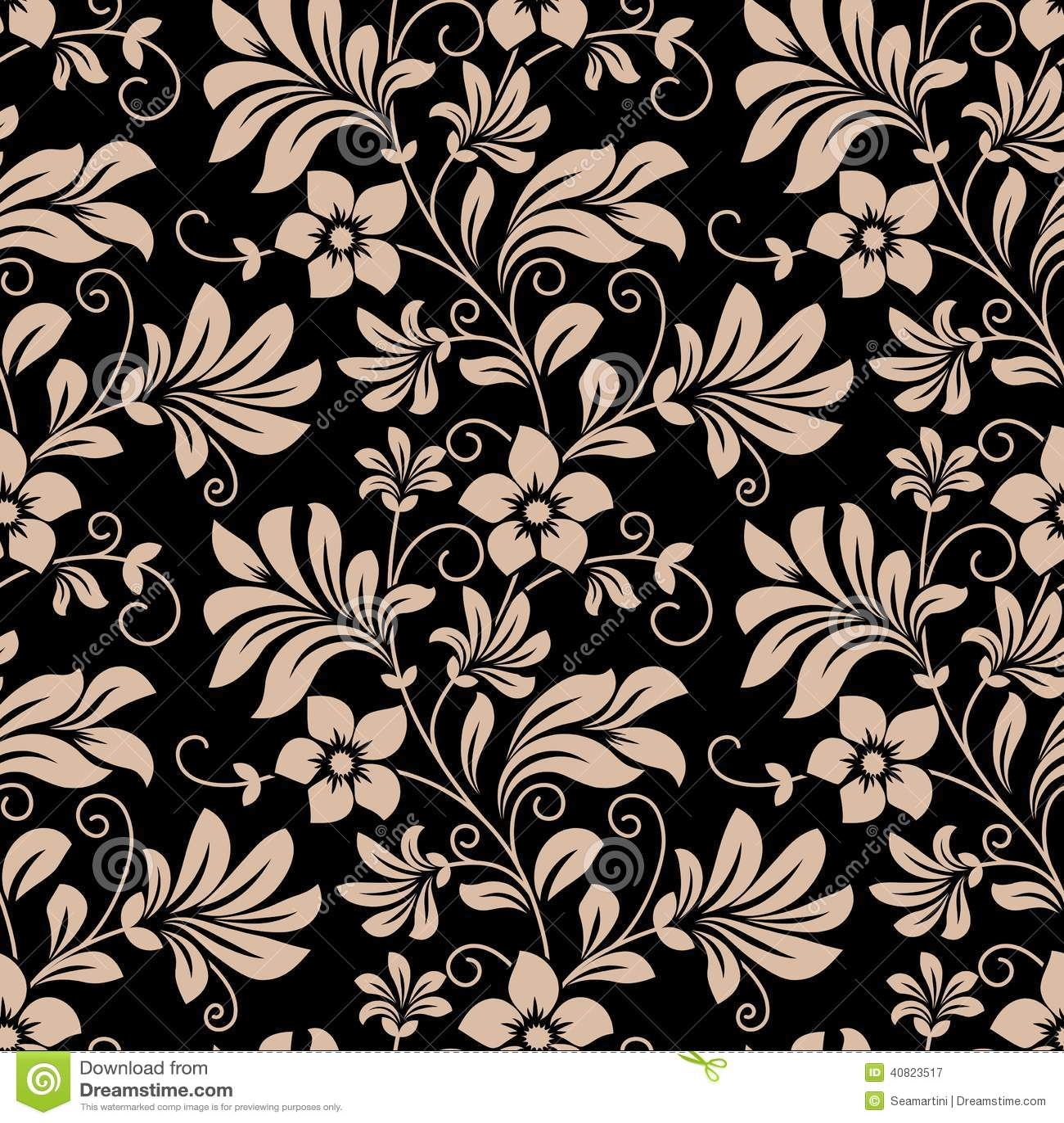 Vintage Floral Wallpaper Seamless Pattern Stock Vector