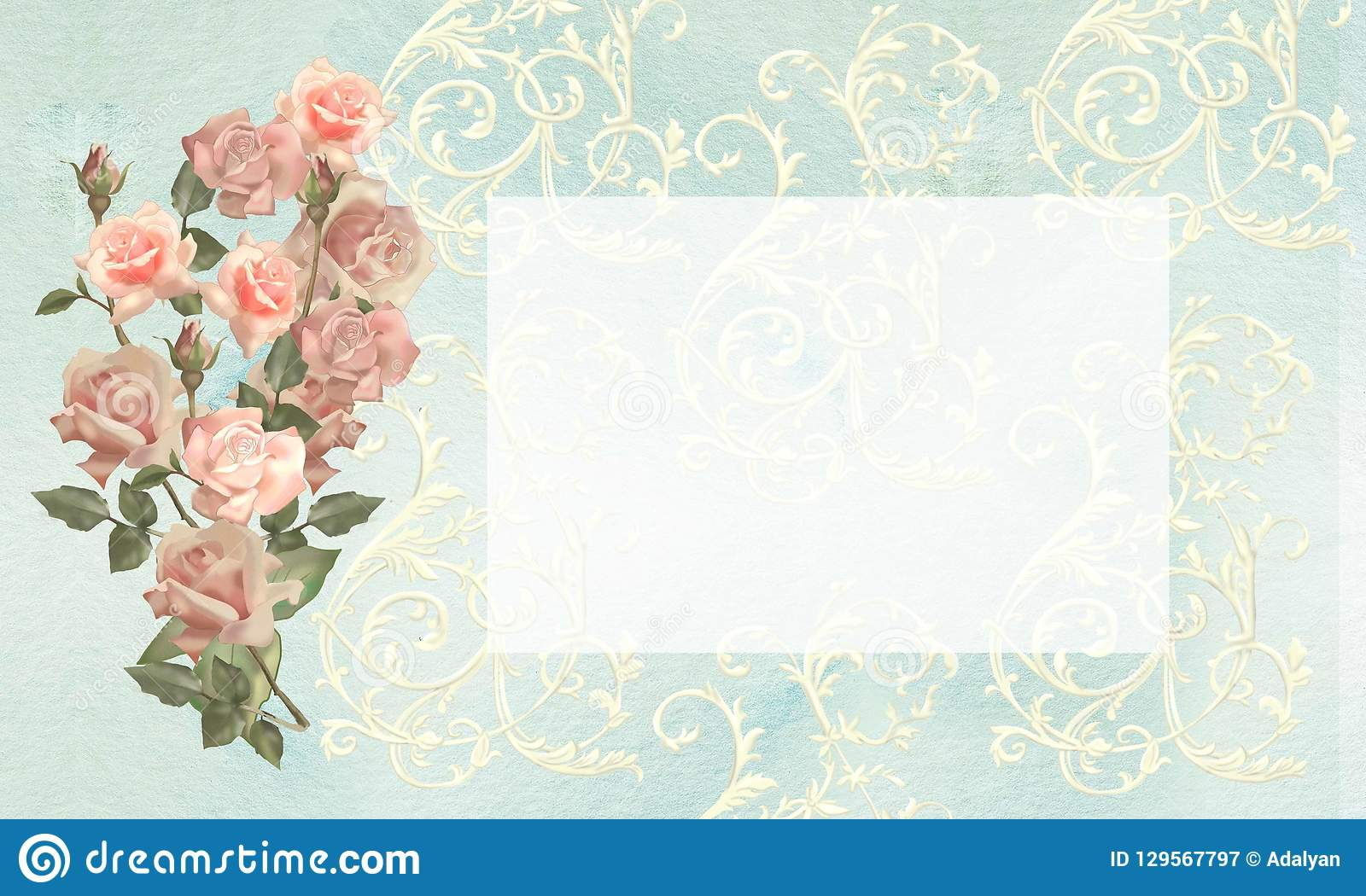 Wedding Invitation, Postcard, Label, Flyer With Roses And