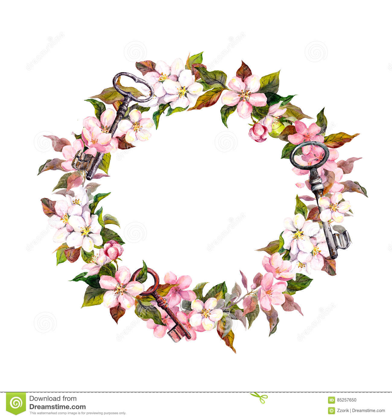Vintage Floral Wreath With Spring Flowers Feathers Keys