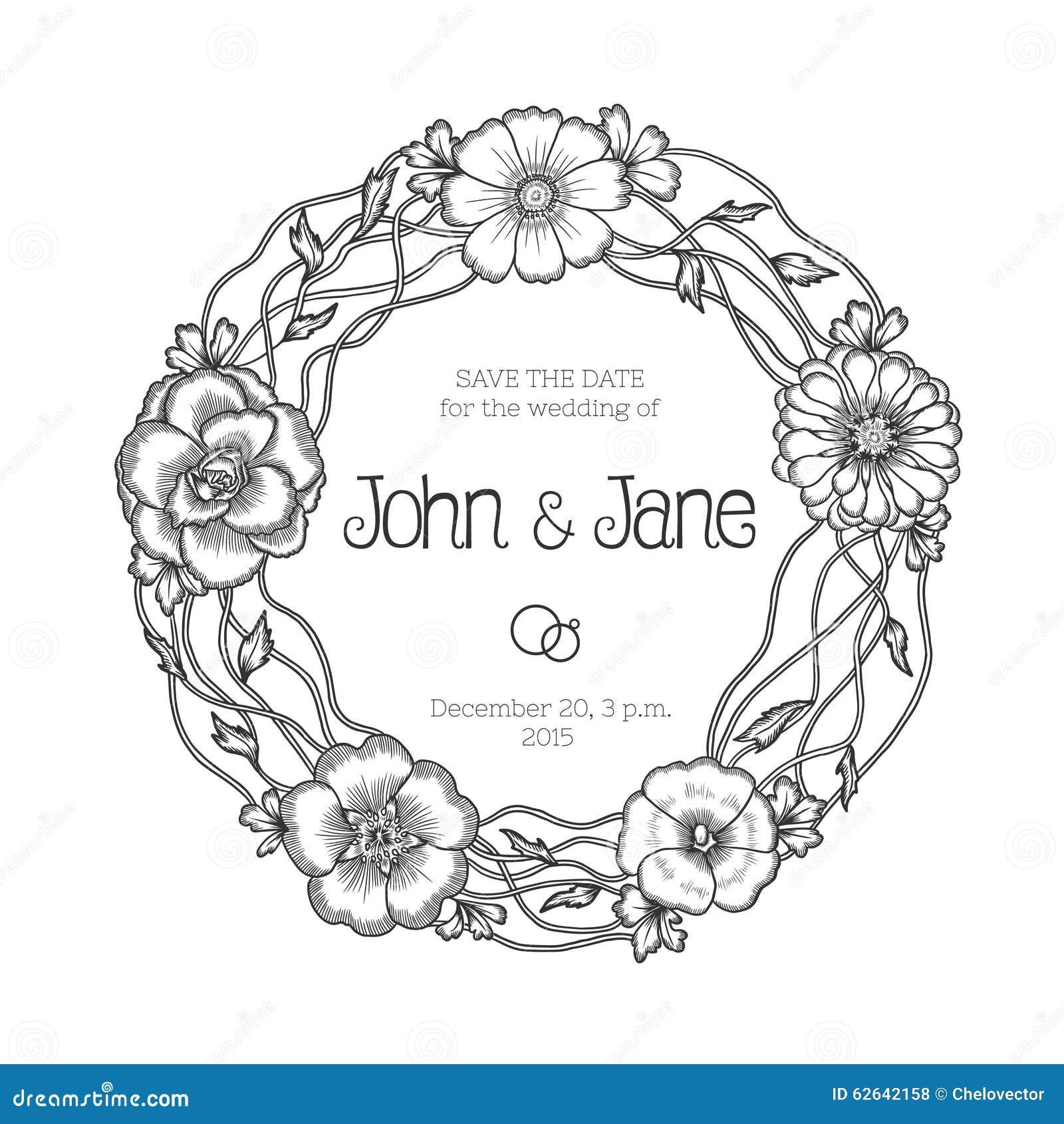 Vintage Floral Wreath. Wedding Invitation Stock Vector ...