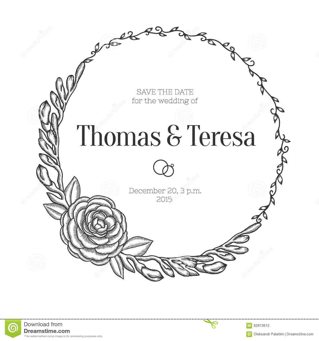 Black and white floral wreath stock vector image 65241515 - Vintage Floral Wreath Wedding Invitation Stock Vector 1300x1390