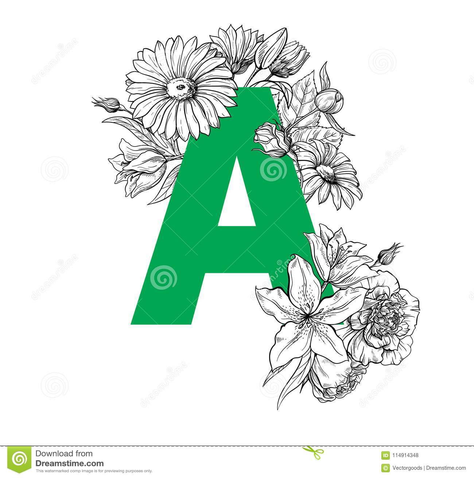 Vintage Flower Alphabet Hand Drawn Vector Illustration Isolated On White Background Stock Vector Illustration Of Cartoon Leaf 114914348