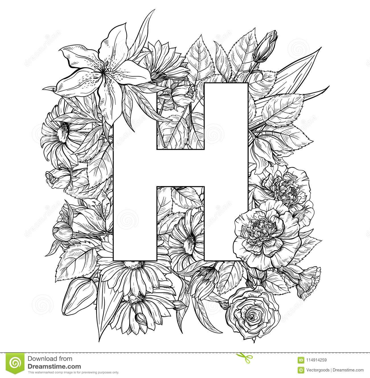 Vintage Flower Alphabet  Hand Drawn Vector Illustration