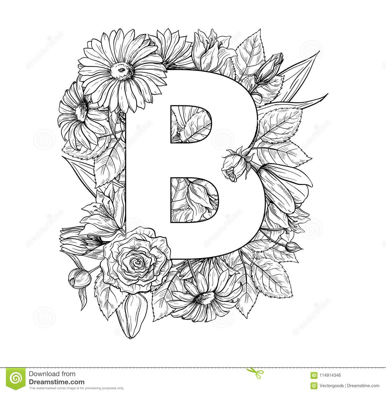 Vintage Flower Alphabet Hand Drawn Vector Illustration Isolated On White Background Stock Vector Illustration Of Drawing English 114914346