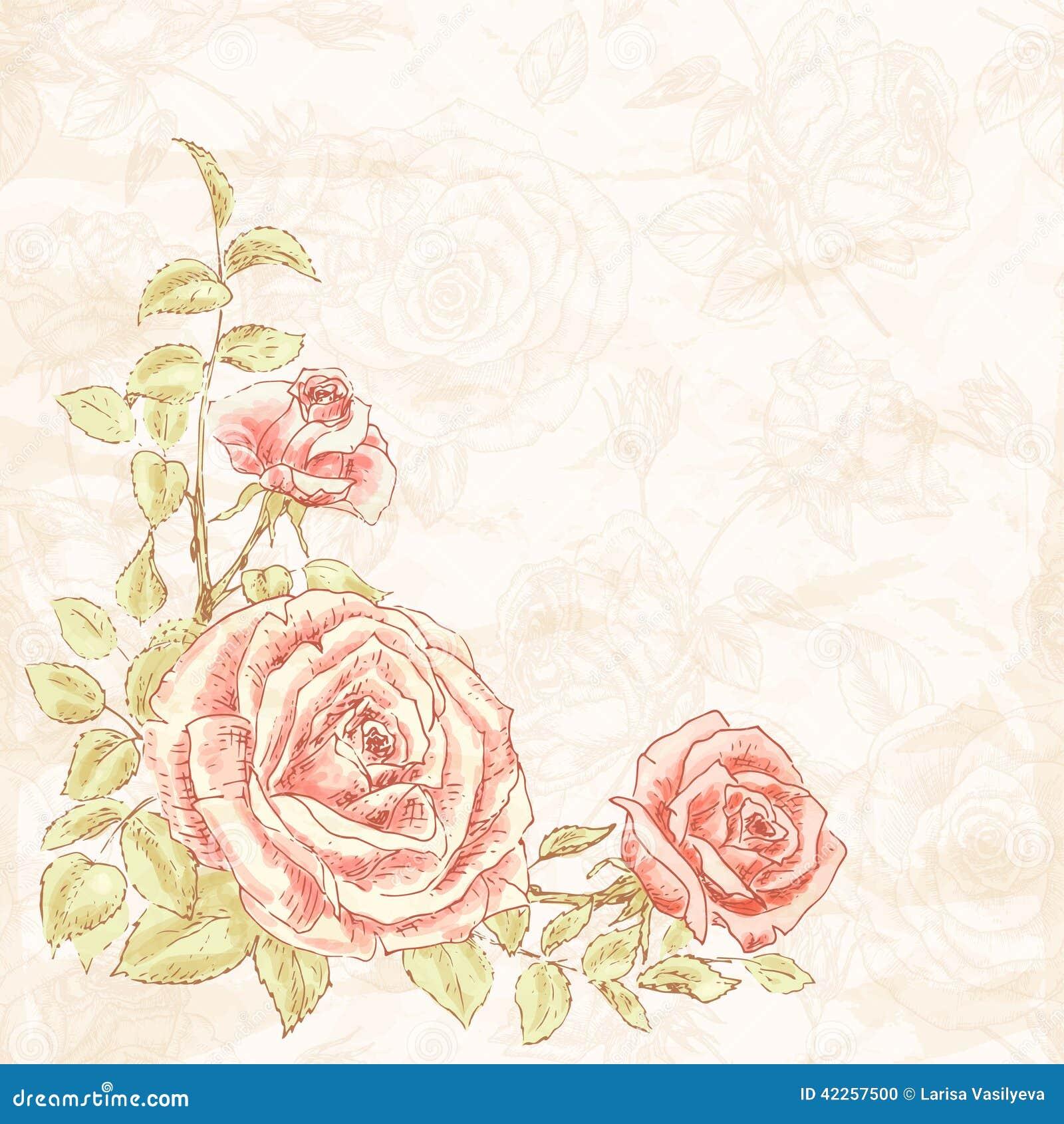 Vintage Flower Background Stock Vector Illustration Of Blank