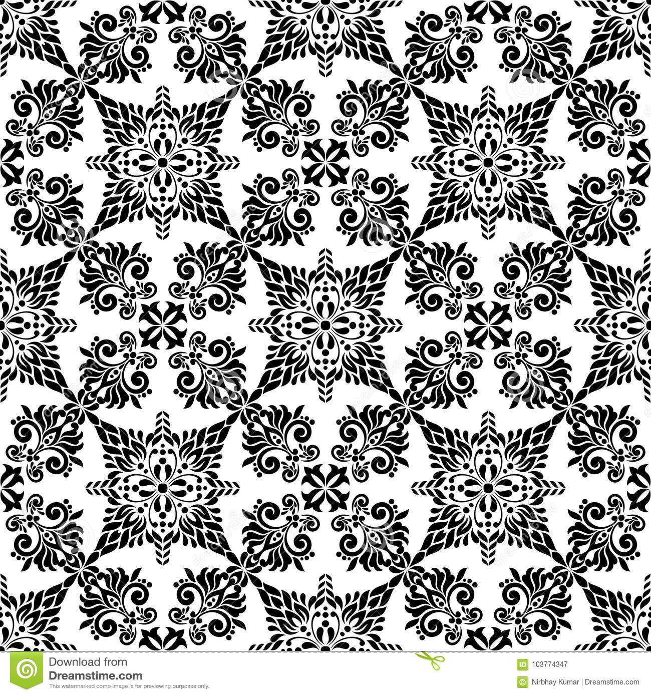 Vintage Flower Black And White Seamless Background Stock Vector