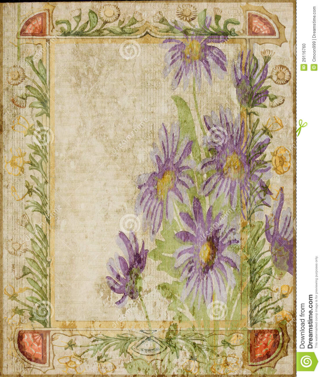 vintage flower collage scrapbook background frame stock
