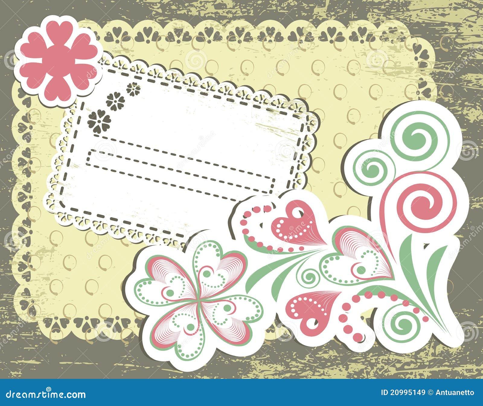 Vintage flower frame design for greeting card stock vector vintage flower frame design for greeting card kristyandbryce Choice Image