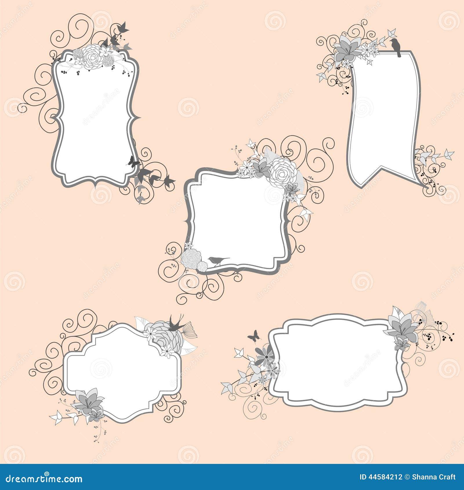 Vintage Flower Frames stock vector. Illustration of bird - 44584212