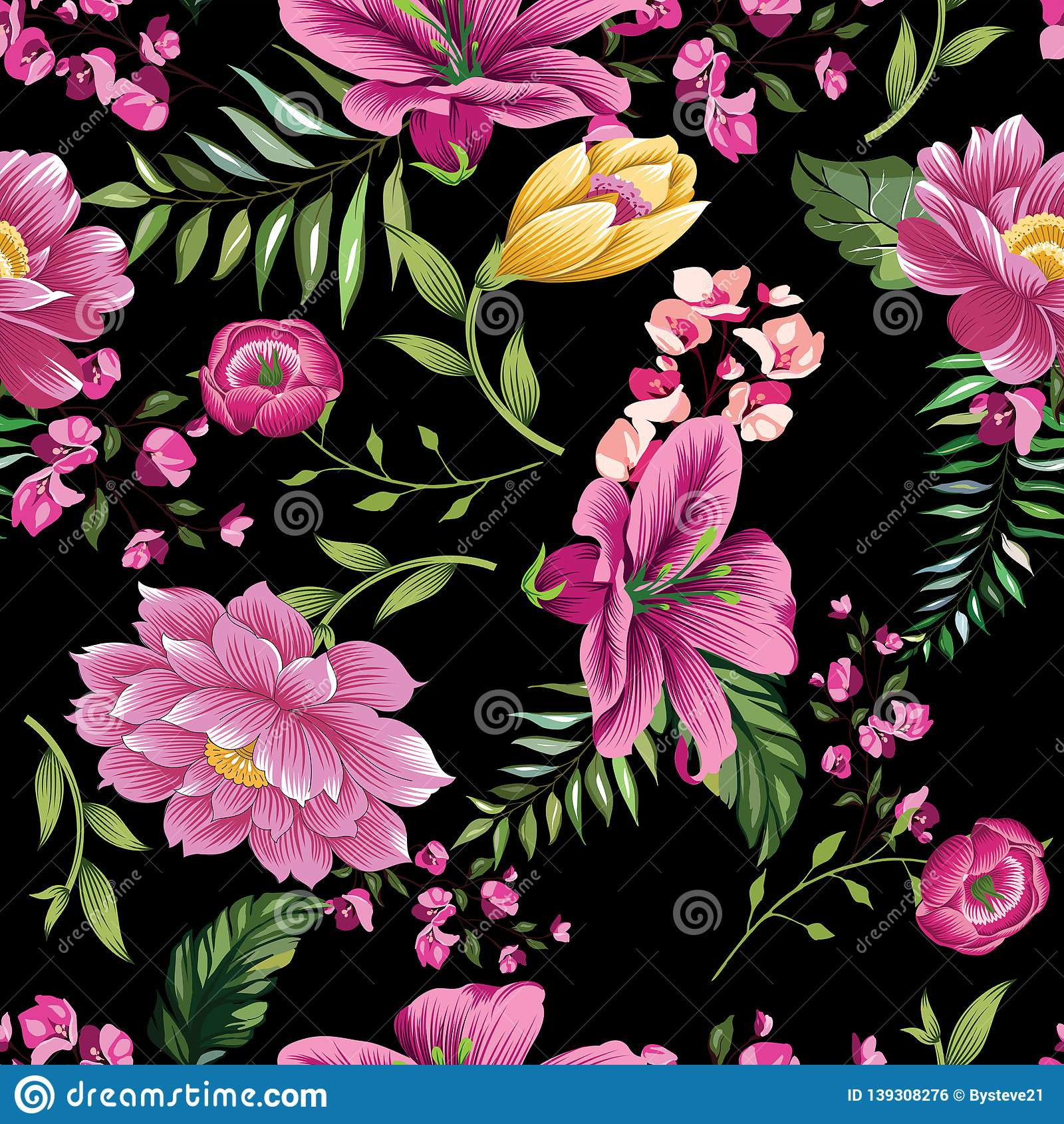 Vintage Flower Pattern On Black Background Stock Illustration