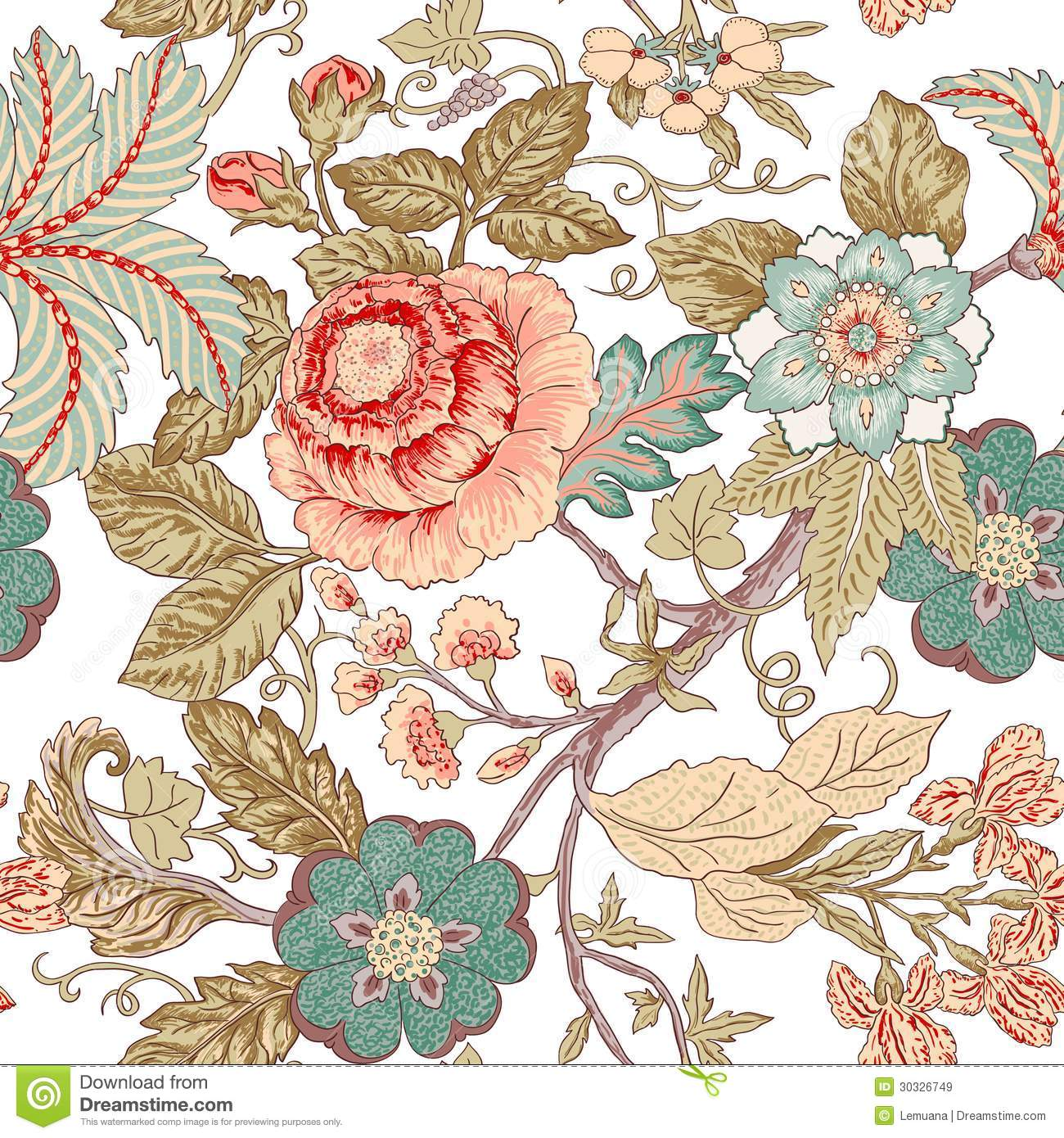 Vintage Flower Pattern Stock Vector. Image Of Artistic