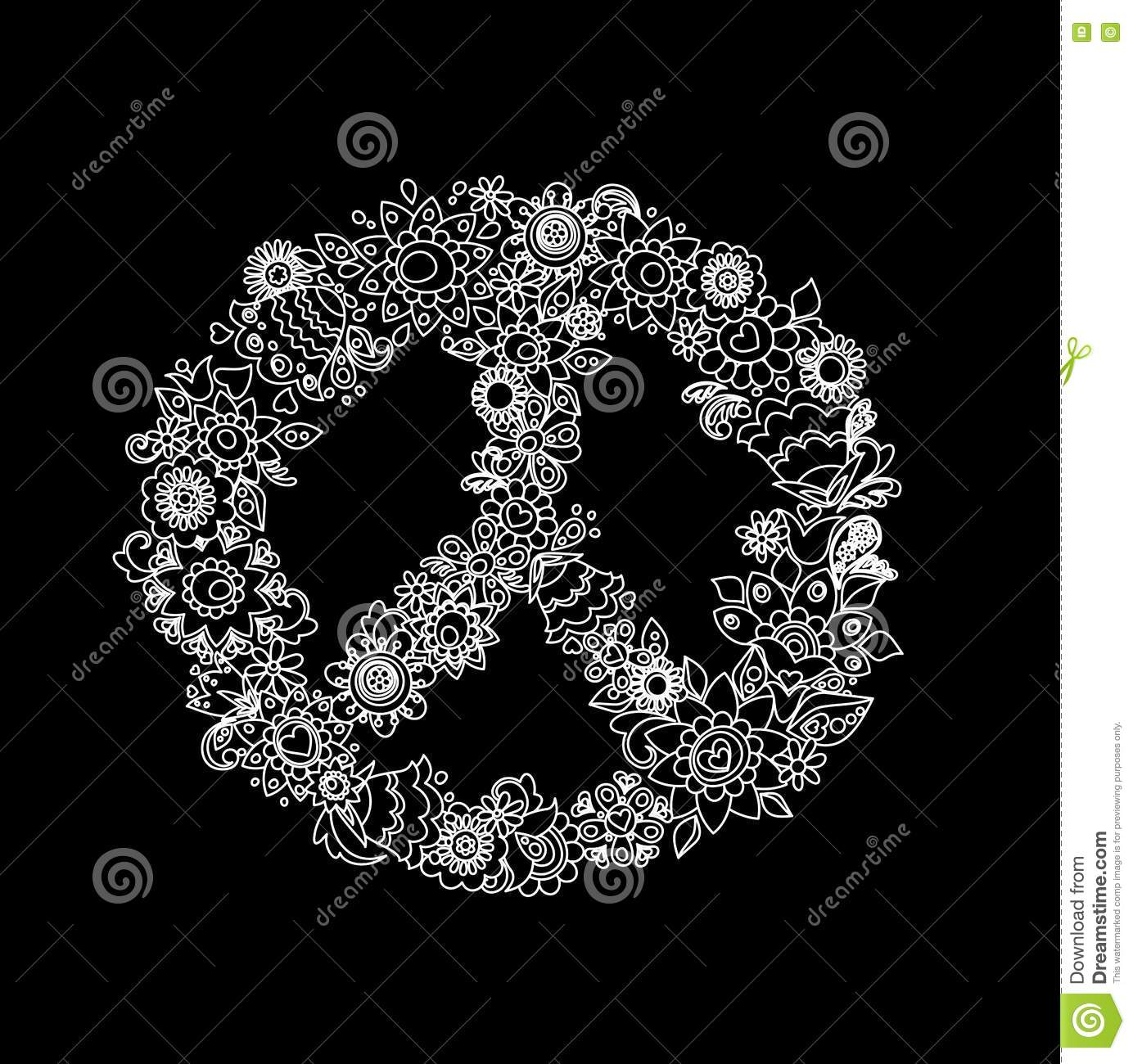 Vintage Flower Peace Symbol Black And White Stock Vector