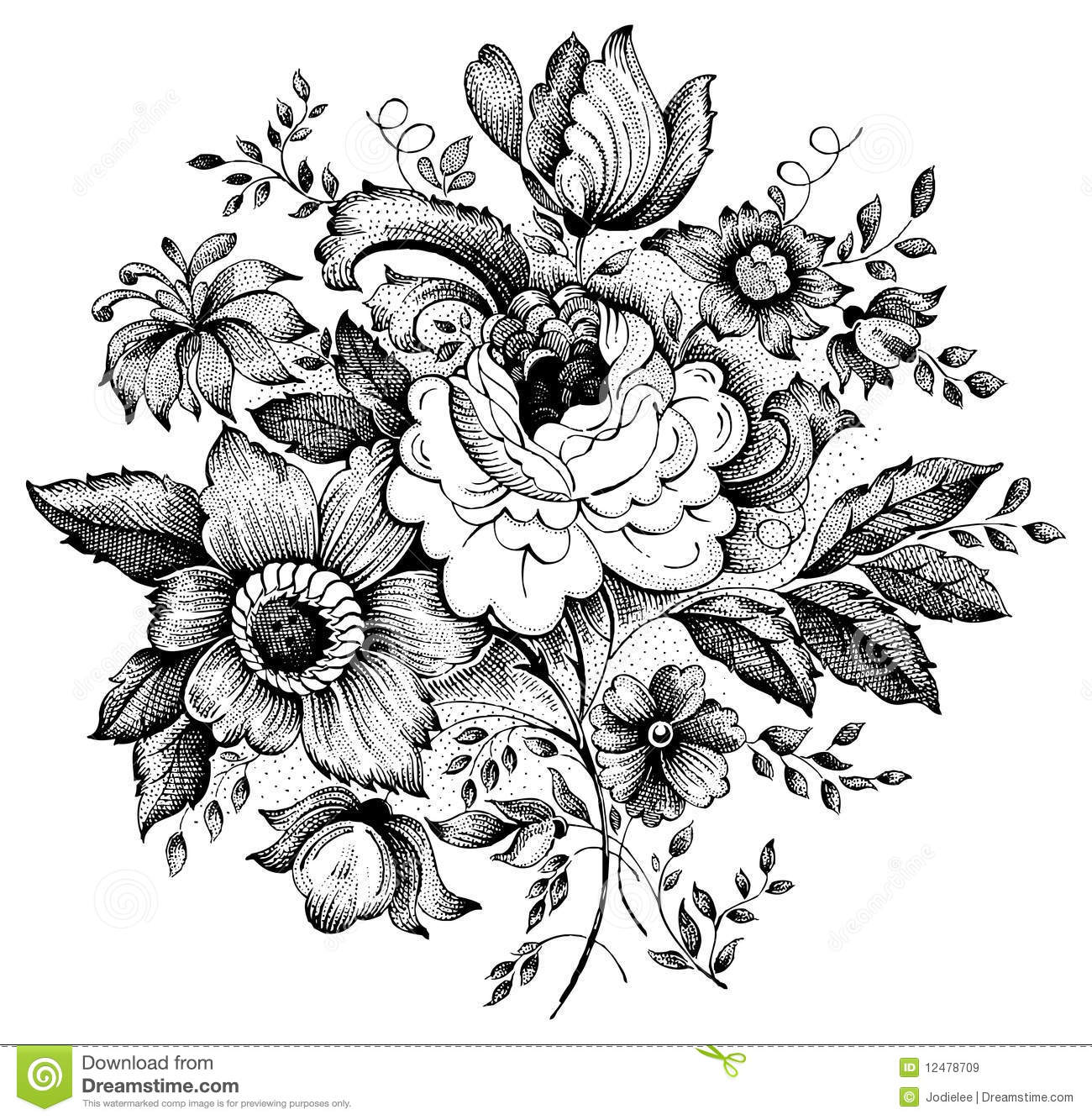 Antique Floral: Vintage Flower Vector Illustration Stock Vector