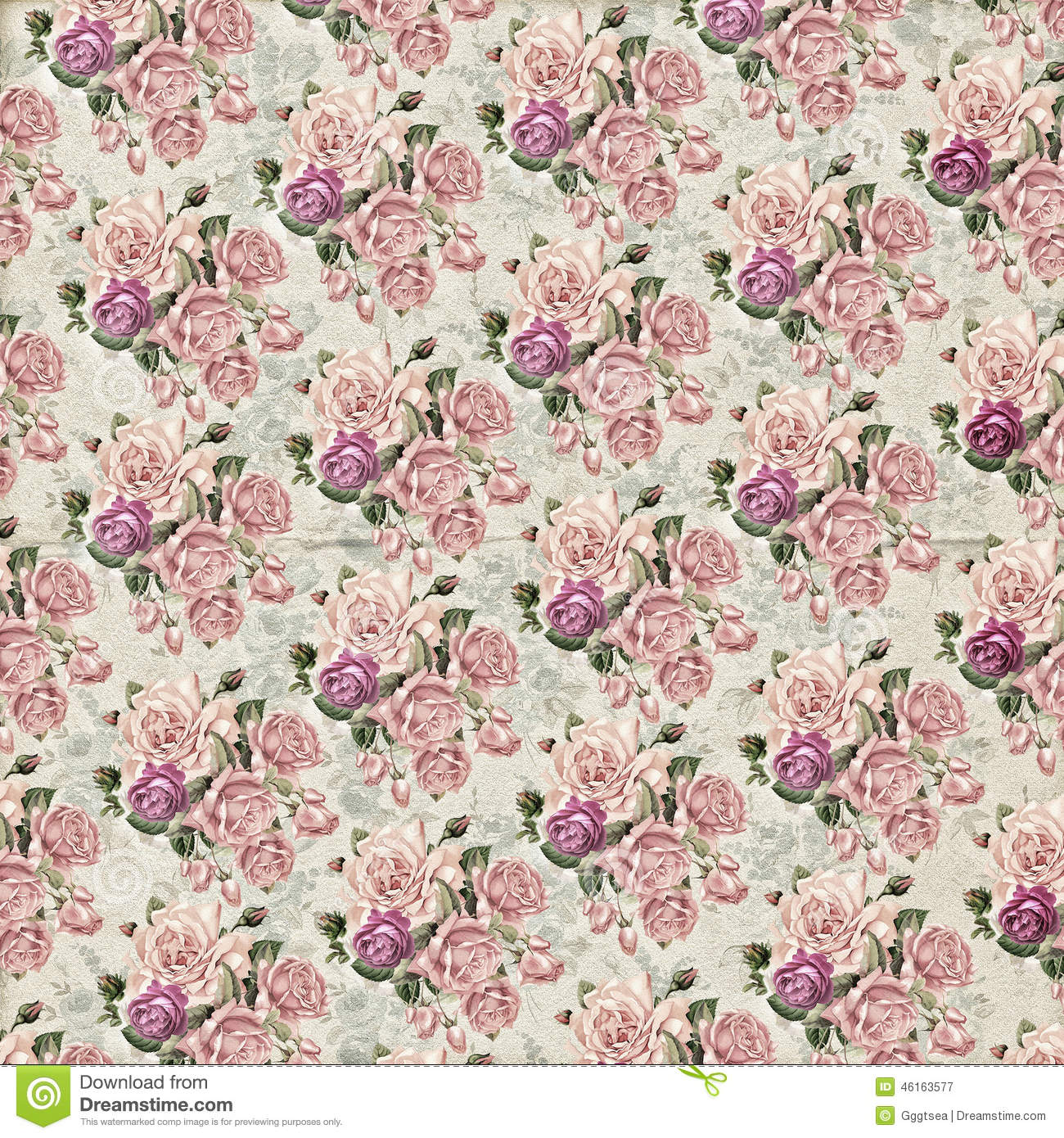 Vintage Flower Wallpaper Texture Stock Photo - Image: 46163577
