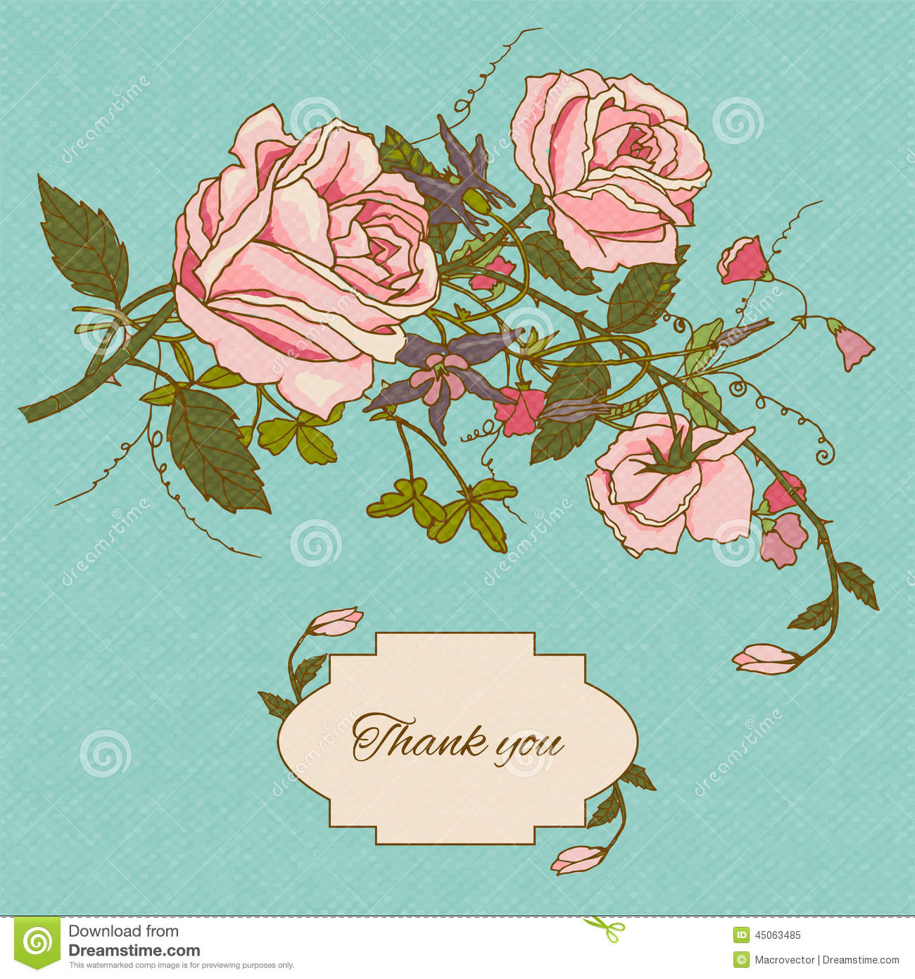 Vintage Flowers Card Color - Roses Drawing Color