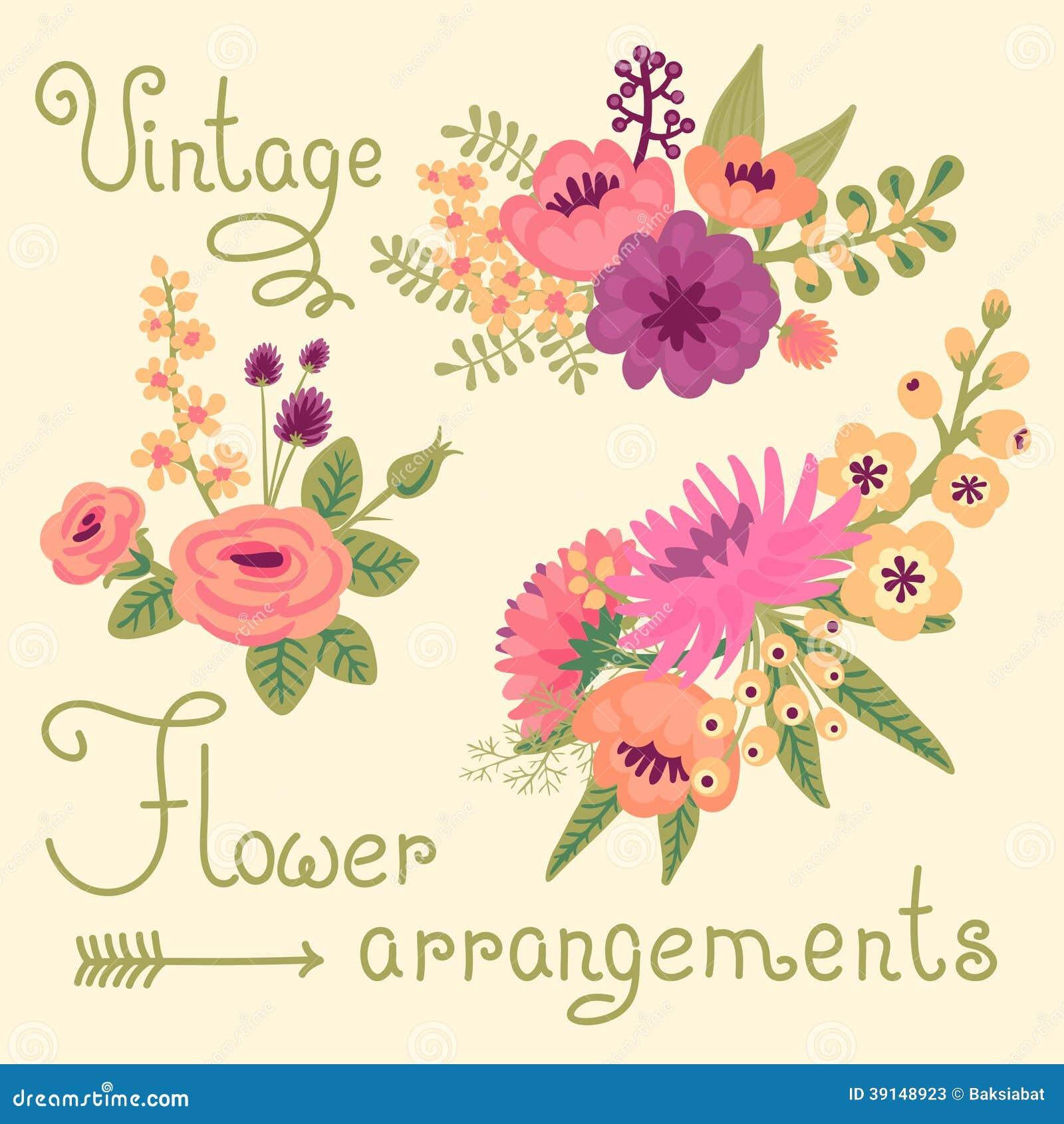 vintage flowers cute flower for design stock vector