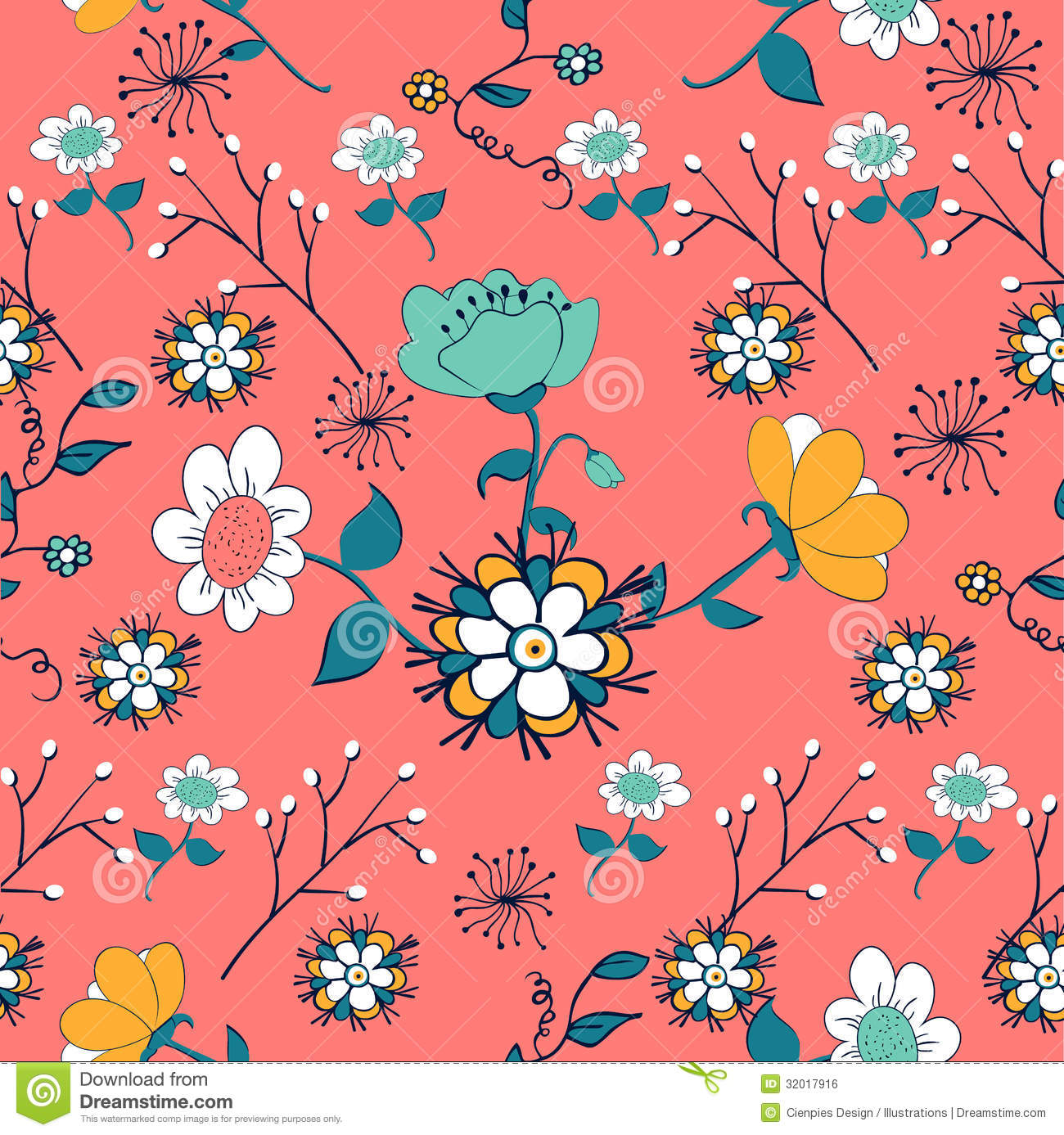 Vintage Flowers Pattern Royalty Free Stock Image