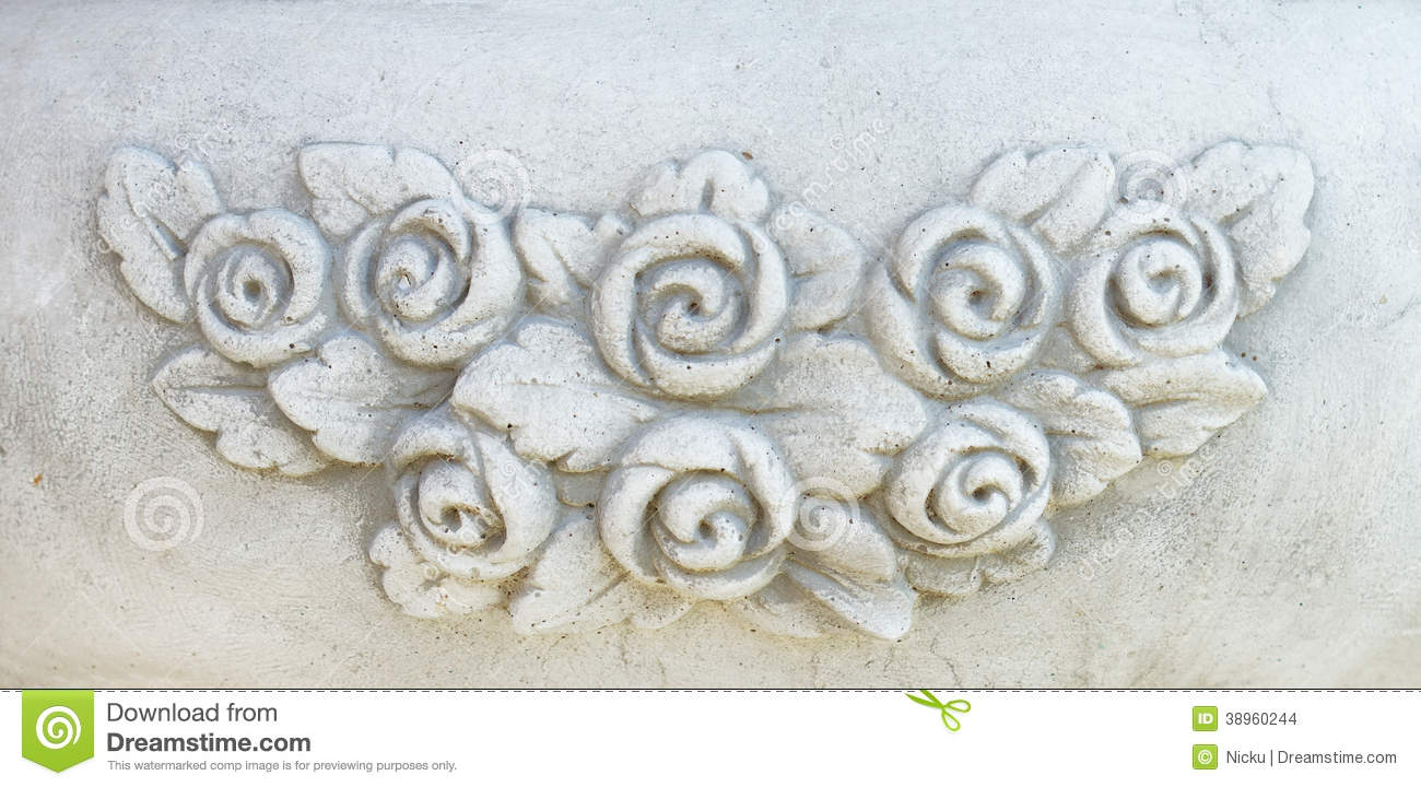 Vintage flowers stone carving stock photo image