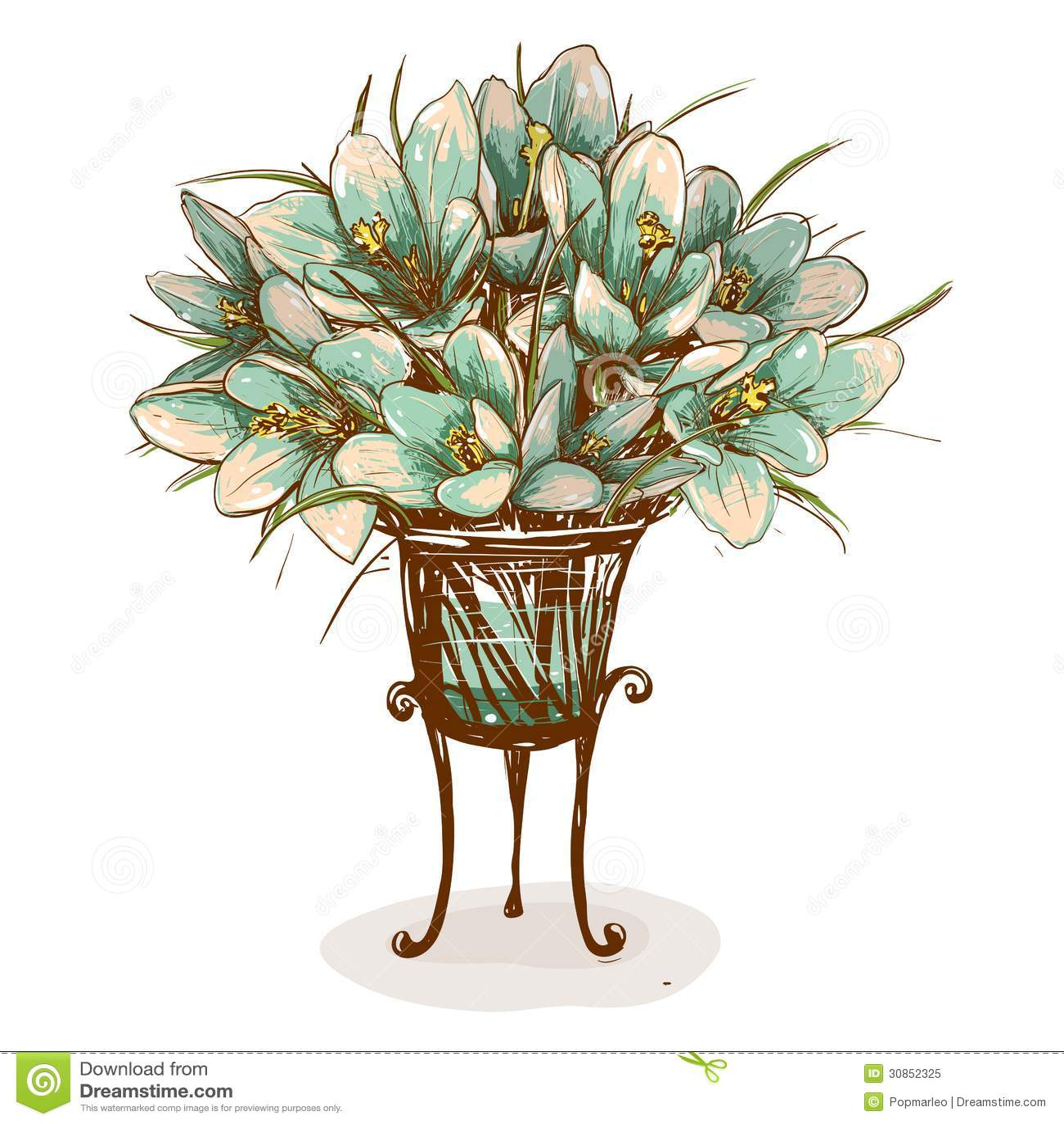 Vintage flowers in vase composition stock vector illustration of vintage flowers in vase composition reviewsmspy
