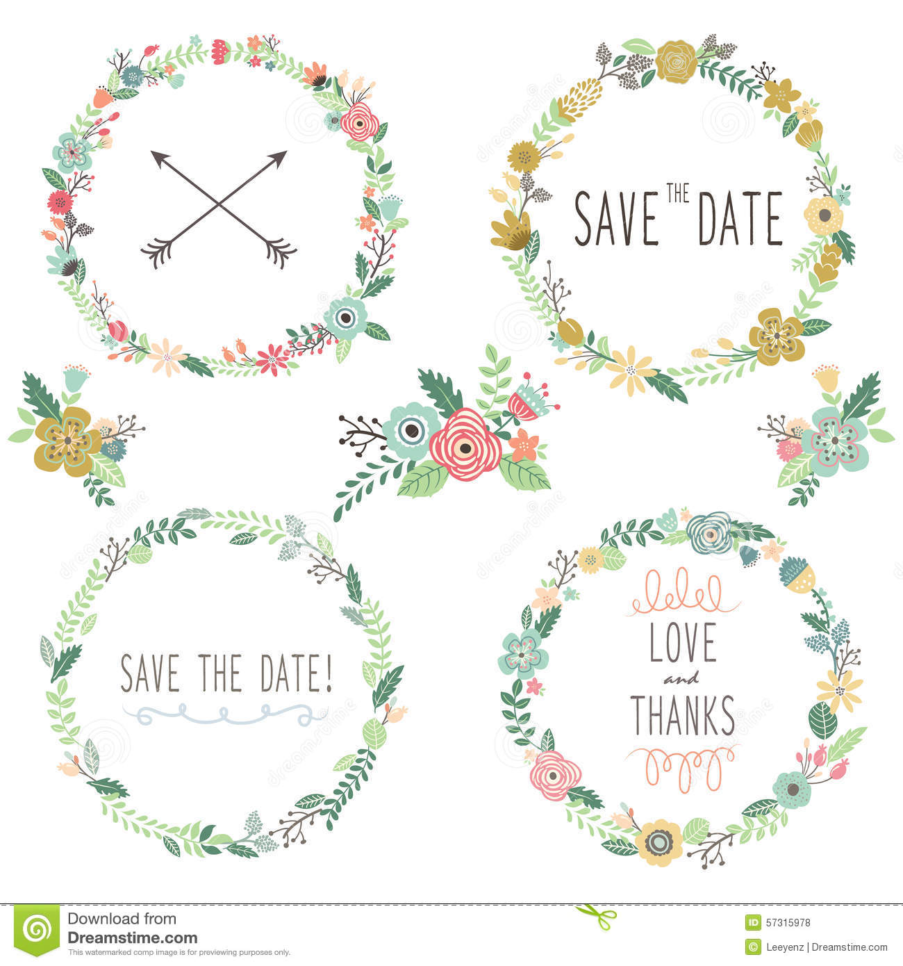 Vintage flowers wreath elements stock vector illustration of download comp stopboris Choice Image