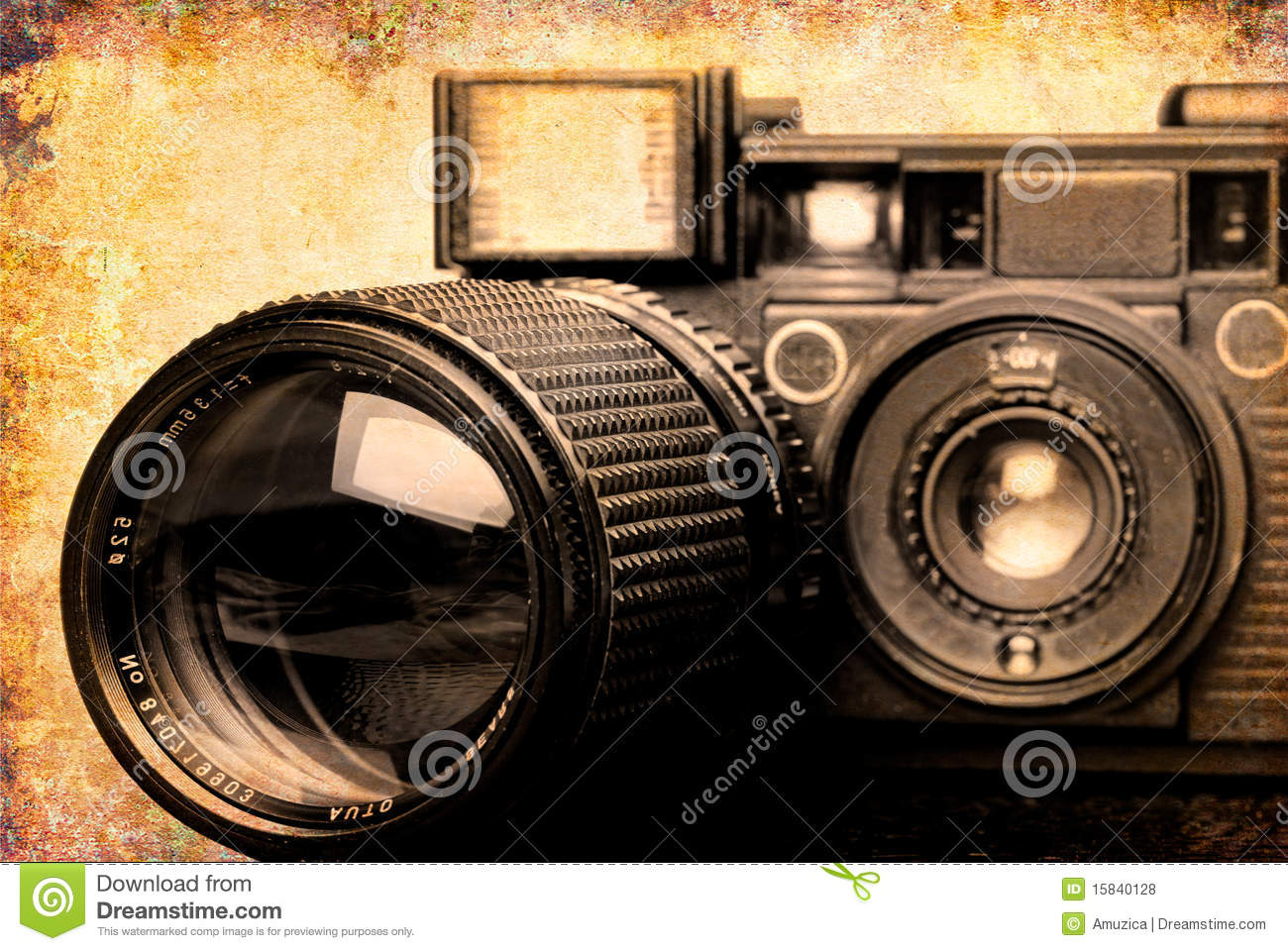 Grunge Camera Effect : Vintage folding camera with a grunge texture stock photo image
