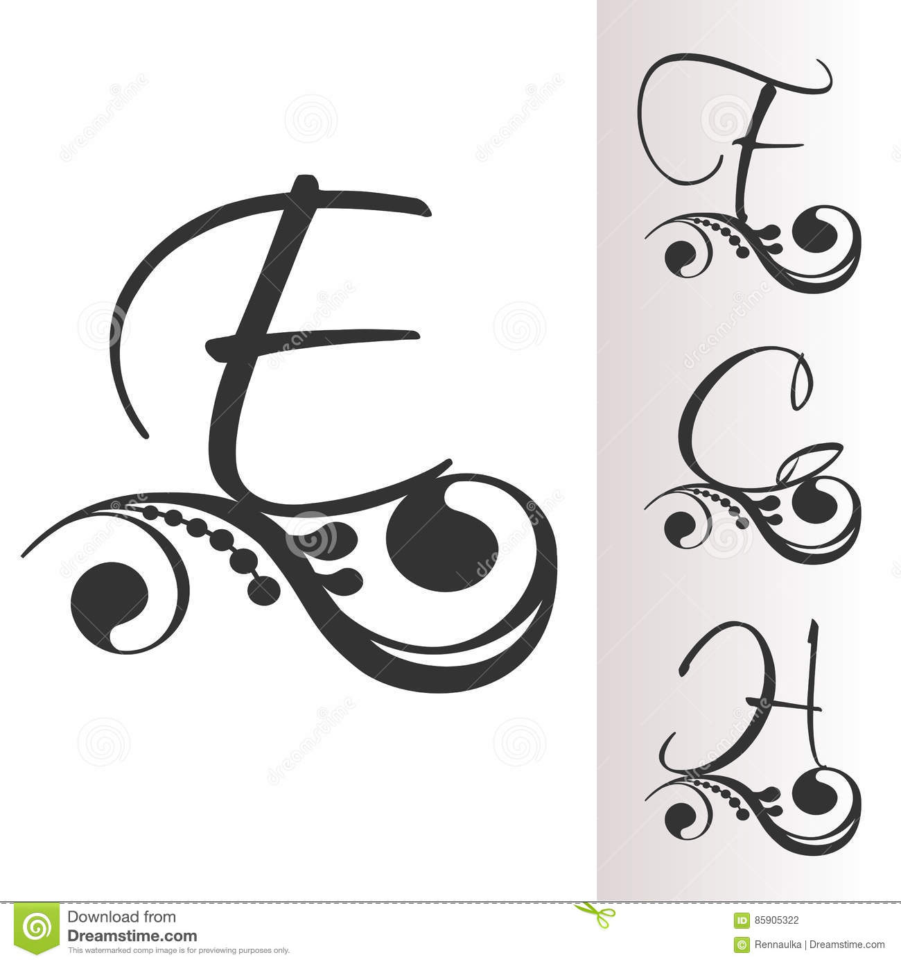 Vintage font with decoration set 2 capital initial for Letter f decoration