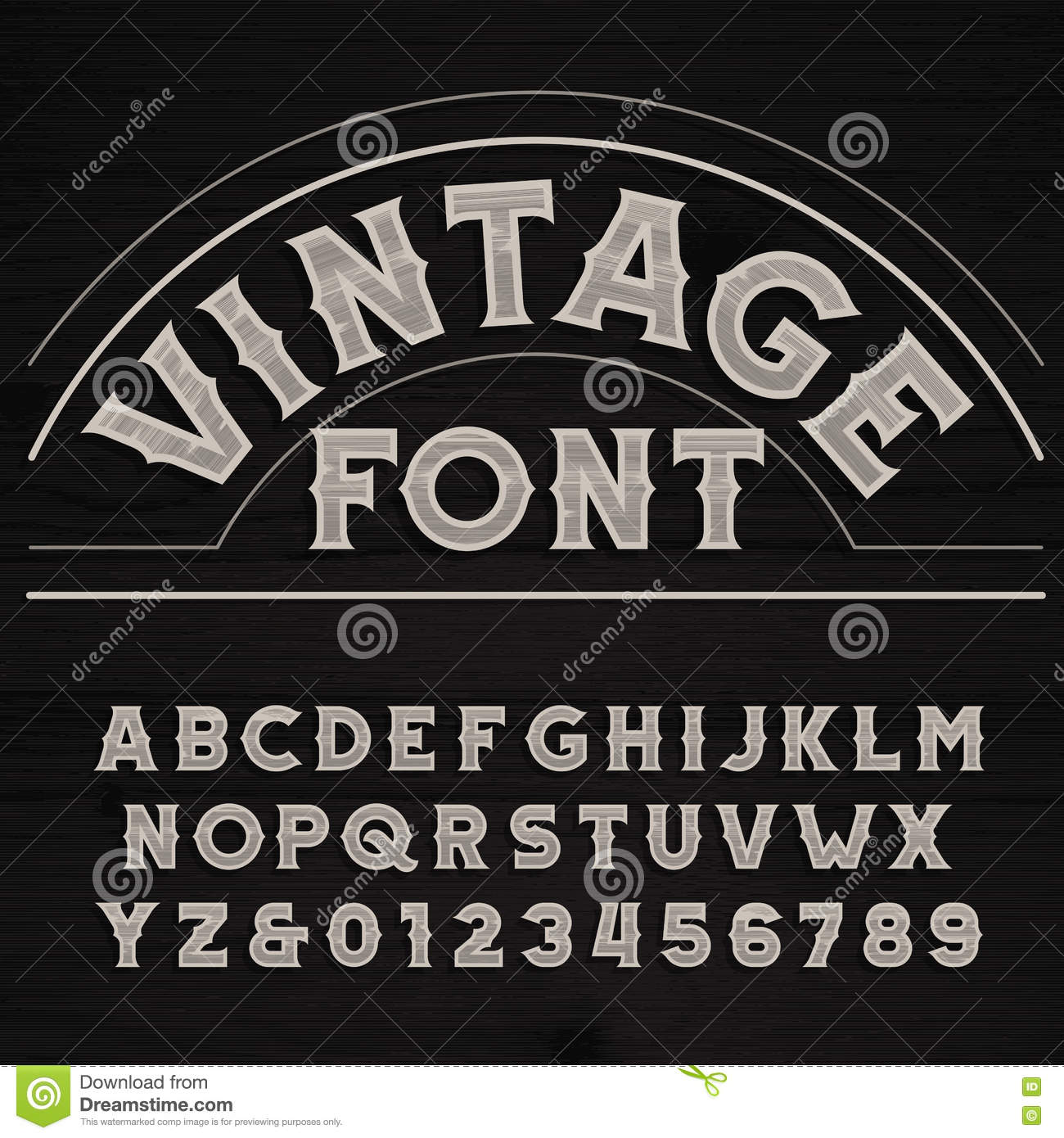 Vintage Font. Dirty Letters On A Grunge Wooden Background. Stock Vector