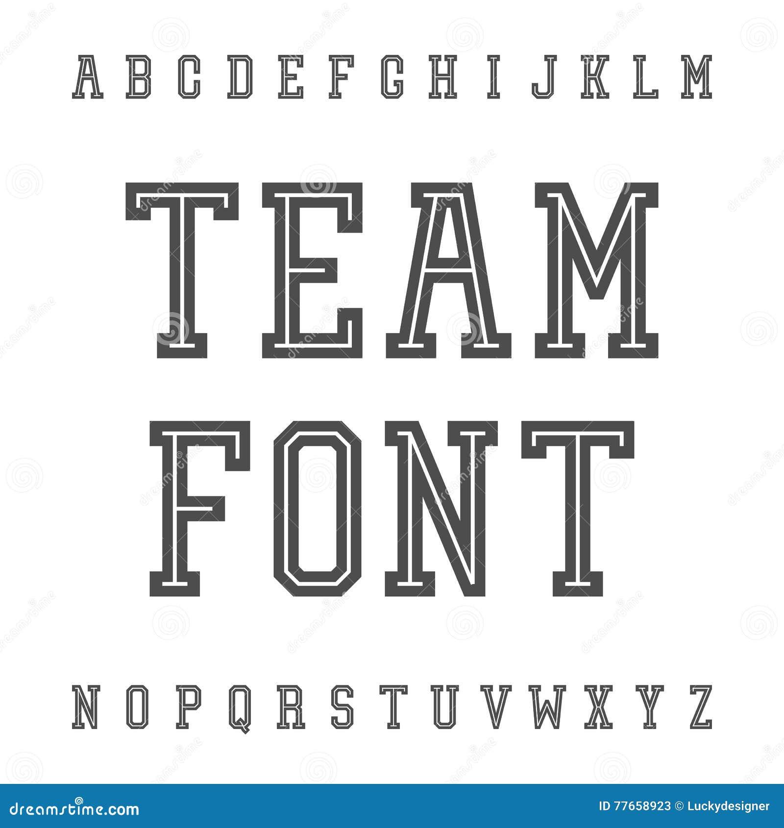 Vintage Font  Slab Serif Retro Typeface  University Team