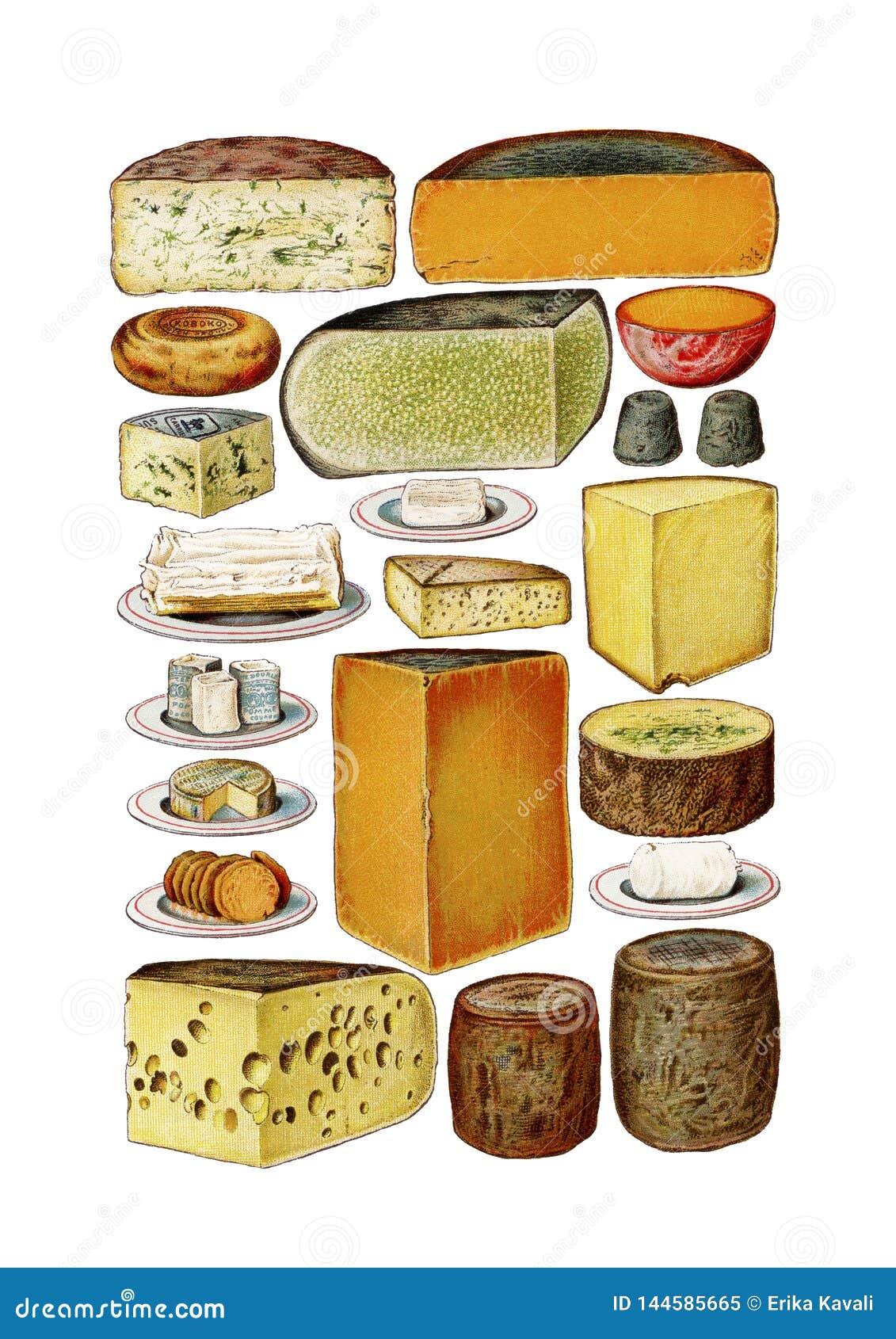 Vintage Food Cheese Clip Art Set Stock Illustration ...  Retro Clip Art Food