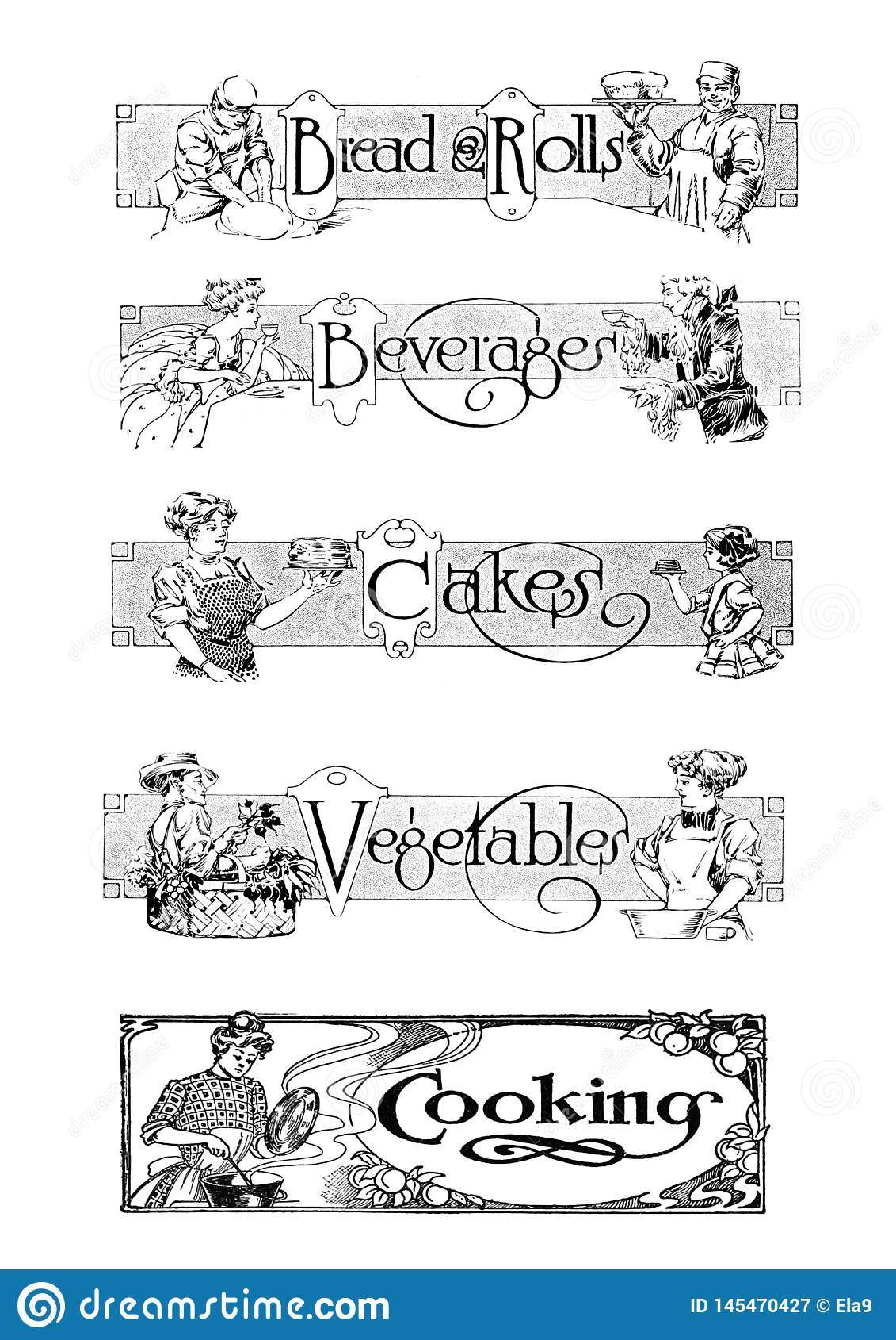 Vintage food dividers illustration