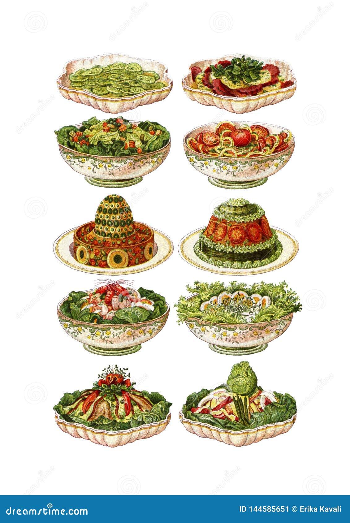 Vintage Food Meals Clip Art Set Stock Illustration ...  Retro Clip Art Food