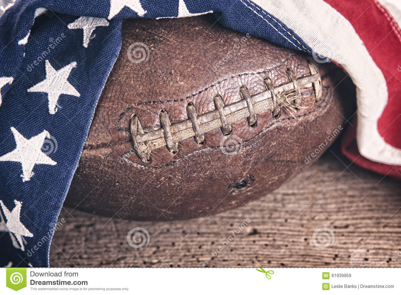 Vintage Football With American Flag Stock Image Image