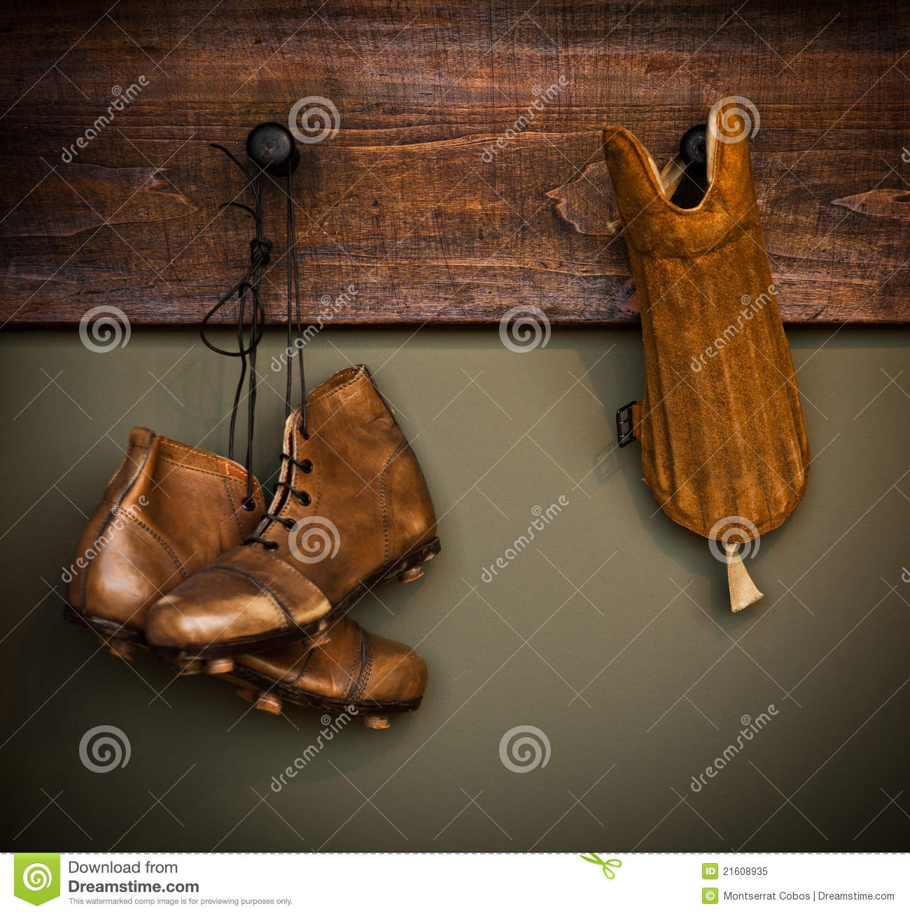 Hanging Shoe Rack Vintage Football Boots And Shin Guard Royalty Free Stock