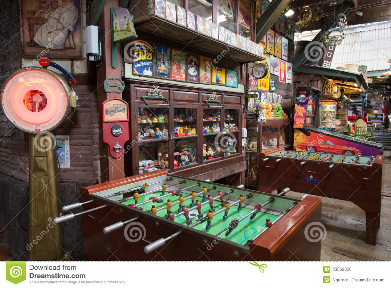 Vintage football table and toys for interior decoration