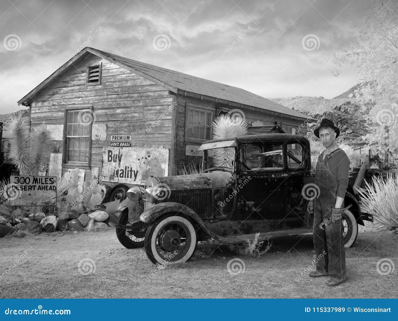 Vintage Ford Car, Gran Depresión, granjero, granja