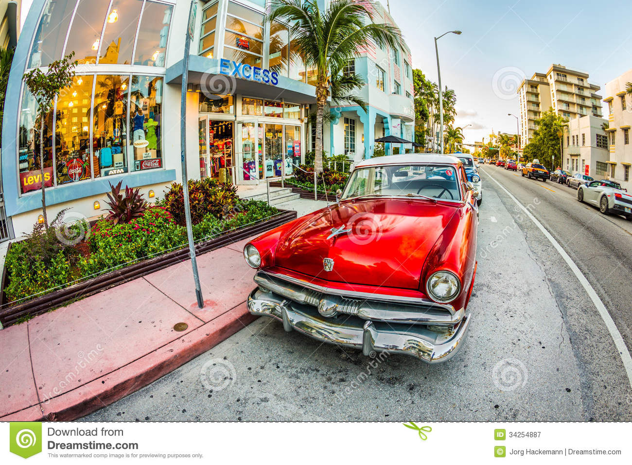 Vintage Ford Car Parks In The Art Deco District In Miami Florida ...