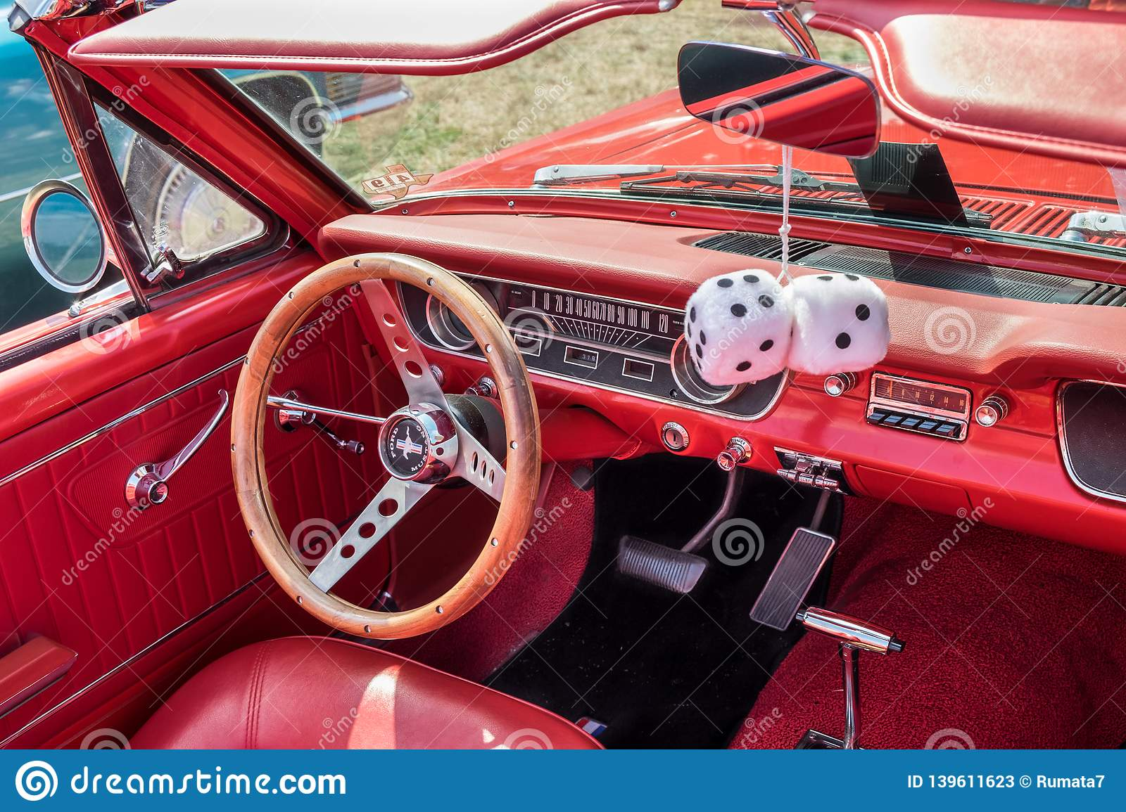 1965 Vintage Ford Mustang Red Interior Steering Wheel With