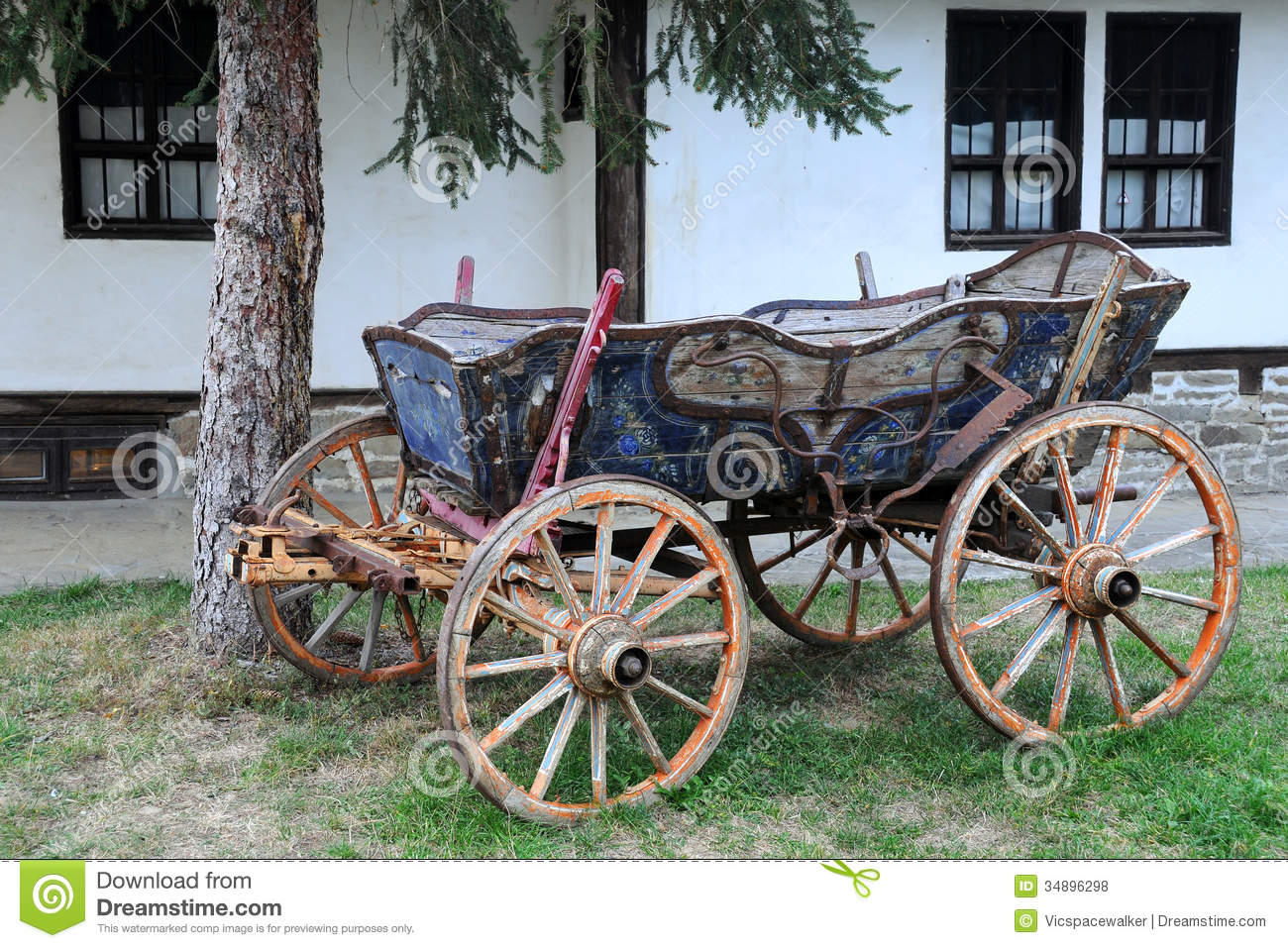 Vintage Four-wheeled Cart Stock Photo. Image Of Horsedrawn