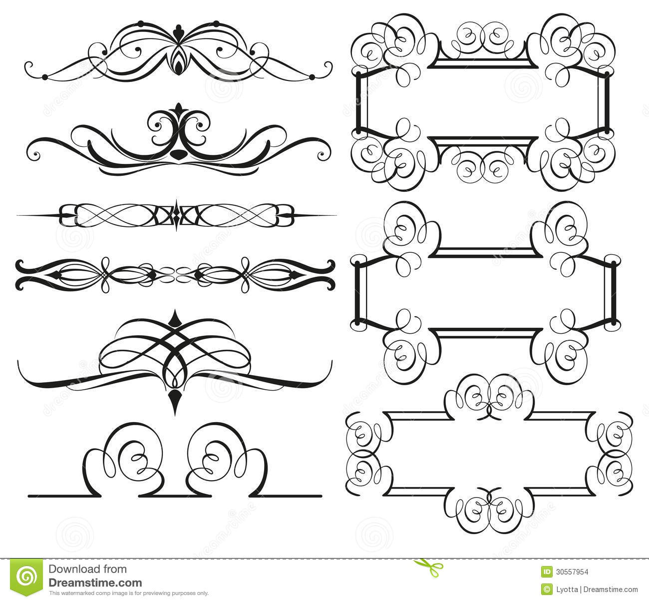 Vintage frame borders and dividers stock vector for Small vintage style picture frames